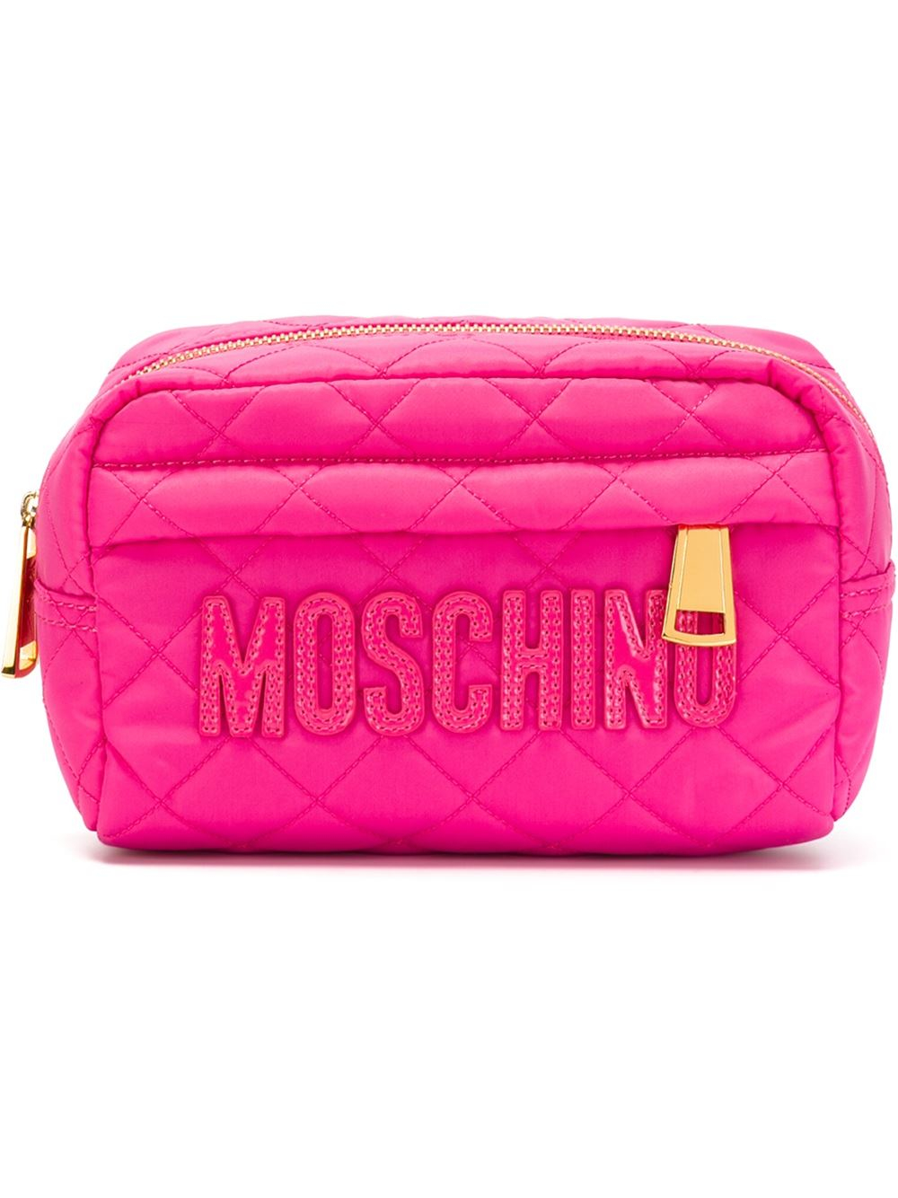 735157455171 Lyst - Moschino Quilted Makeup Bag in Pink