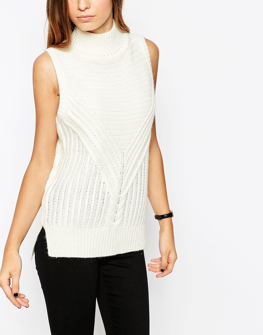 Lyst - Asos Sleeveless Jumper In Chunky Knit With High Neck - Cream in  Natural