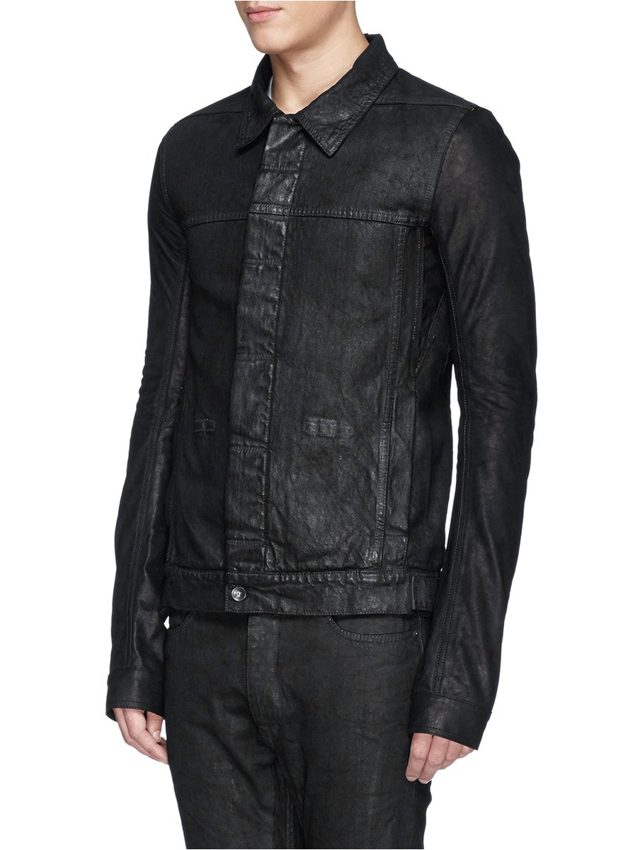 Lyst Drkshdw By Rick Owens Coated Leather Sleeve Denim