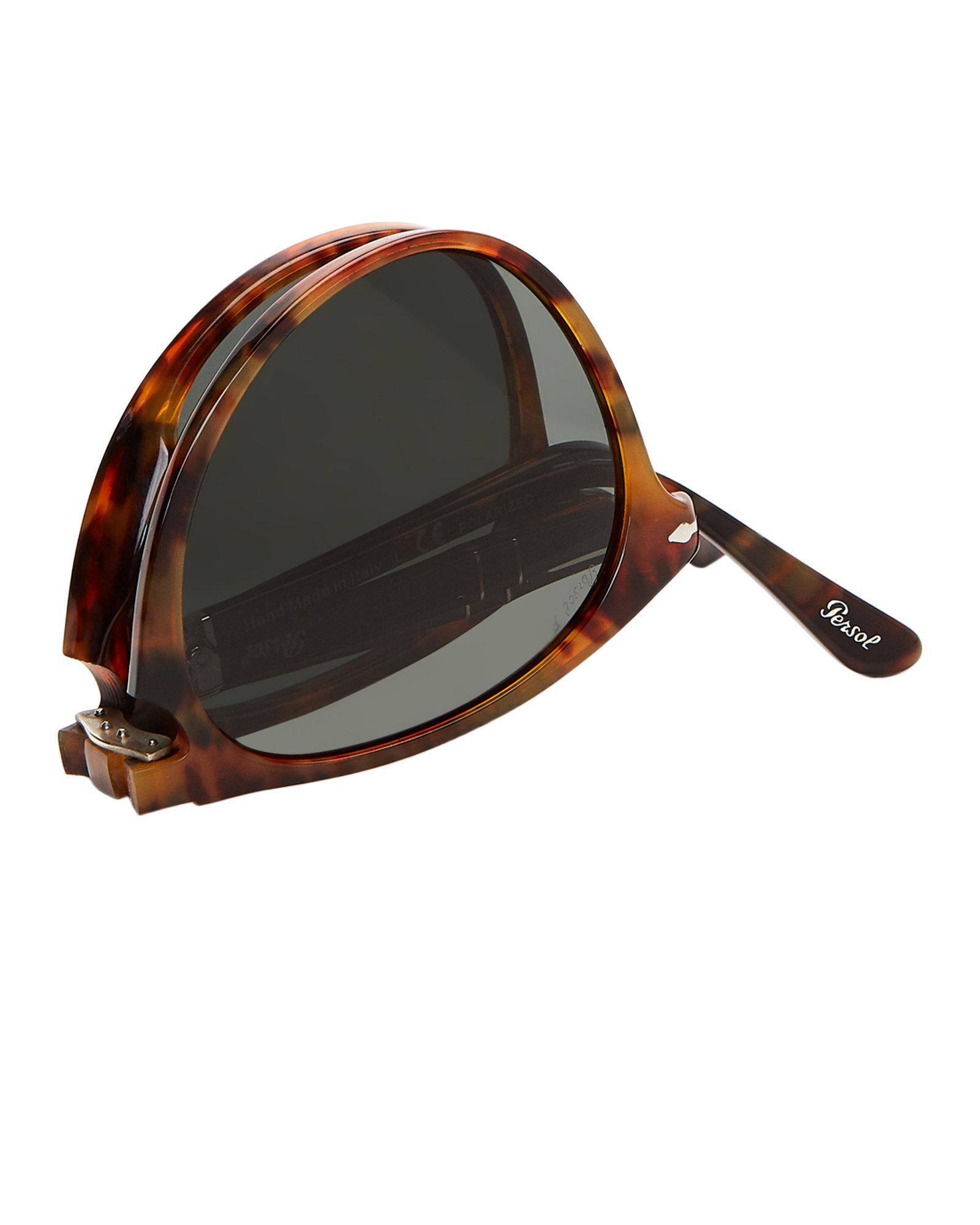 57e4561037593 Persol Po9714 Caffe Round Polarized Sunglasses - Lyst