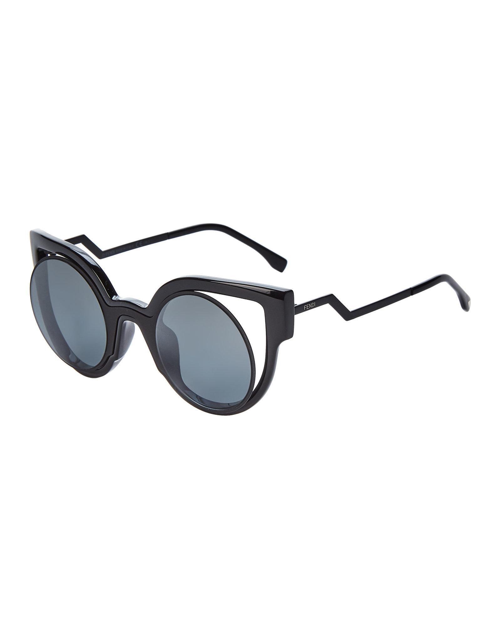 74be2d811ed1 Lyst - Fendi Ff0137/s Black Cutout Cat Eye Sunglasses in Black