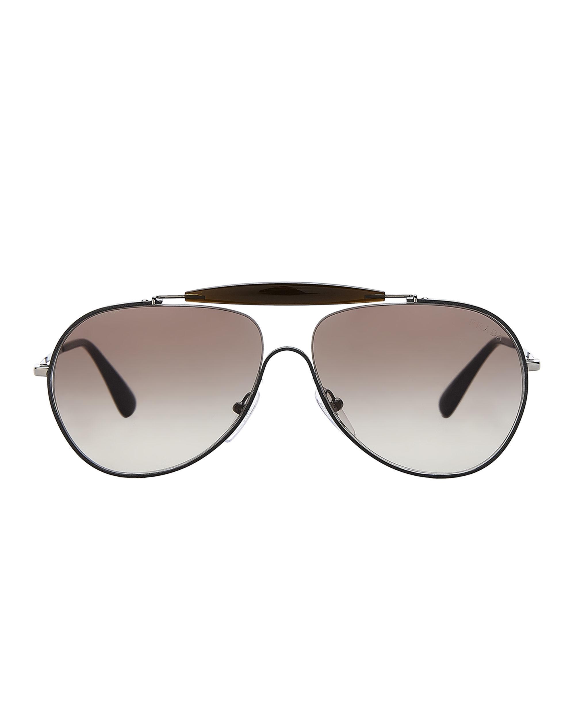 1d0d21ece9f7 Lyst - Prada Spr 56s Black Aviator Sunglasses in Black for Men