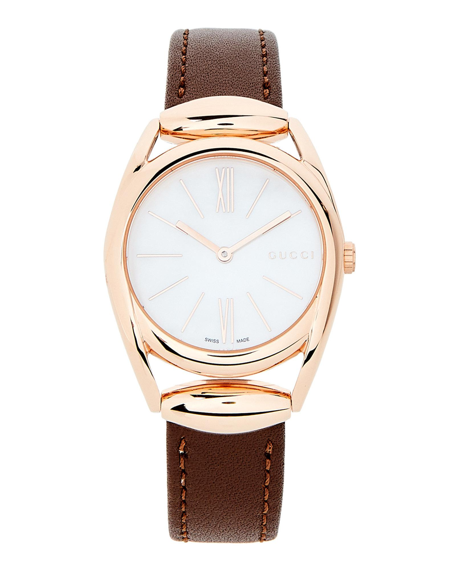 645df411ef5 Lyst - Gucci Ya140507 Horsebit Rose Gold-tone   Brown Watch in Brown