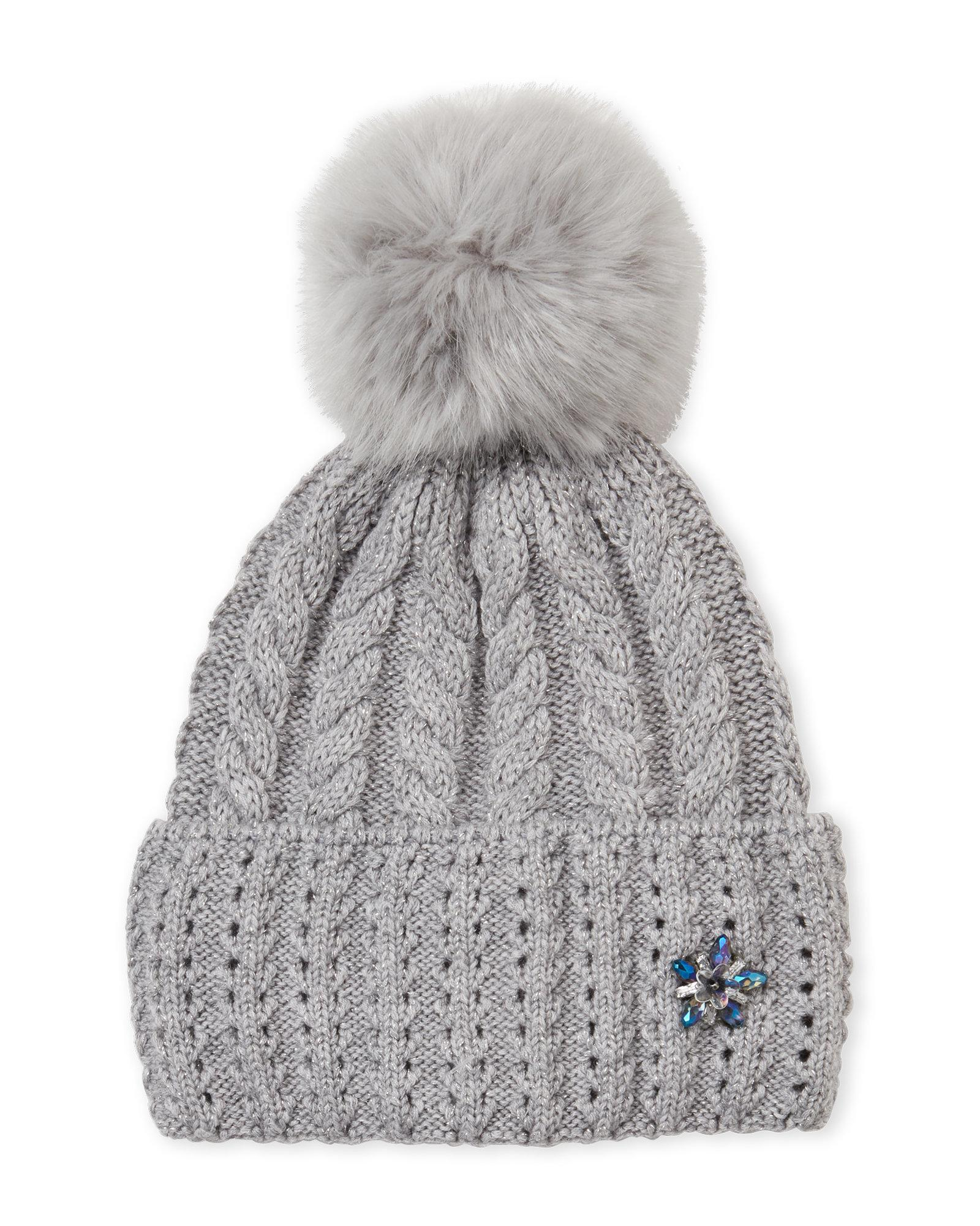 d26358372e8169 Lyst - Badgley Mischka Cable Knit Pom-pom Beanie in Gray