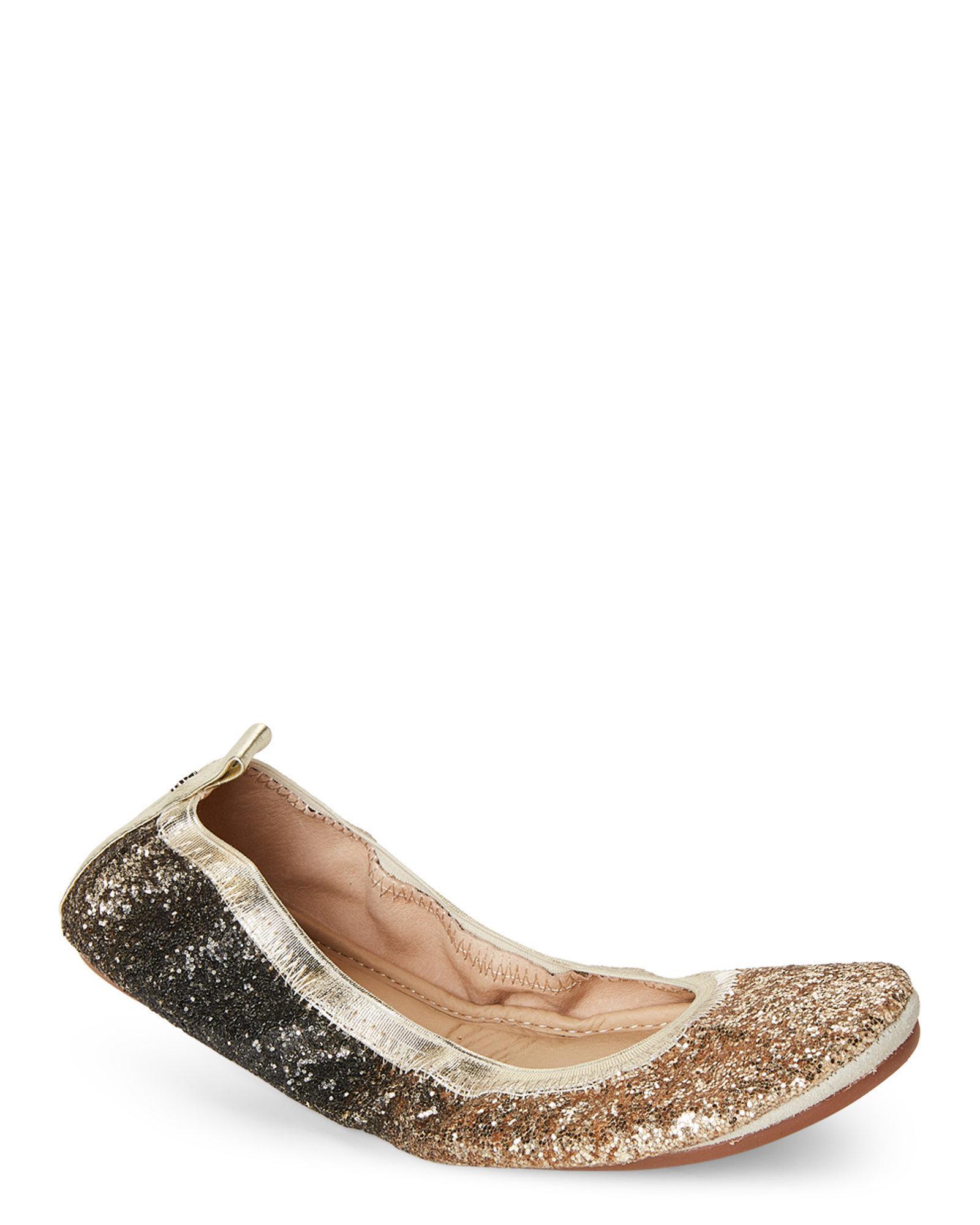 5c1eb1d2654e Yosi Samra Gold Serena Glitter Foldable Ballet Flats in Metallic - Lyst