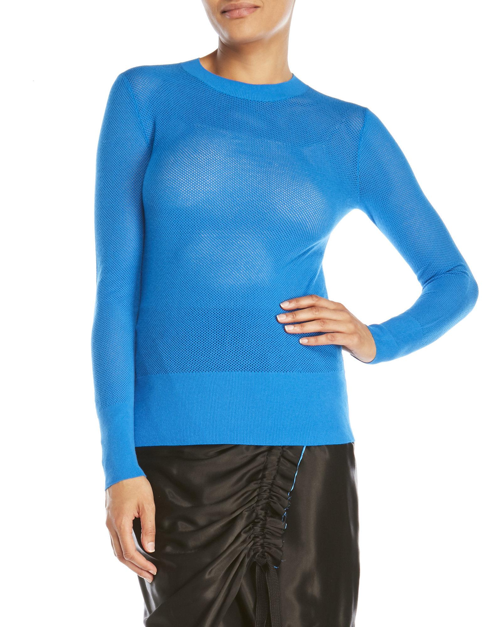 Dkny Long Sleeve Mesh Pullover Sweater in Blue | Lyst