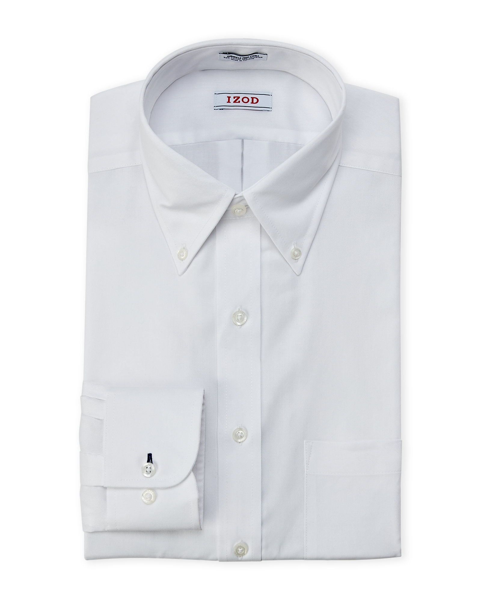 Izod White Slim Fit Wrinkle Free Twill Shirt In White For