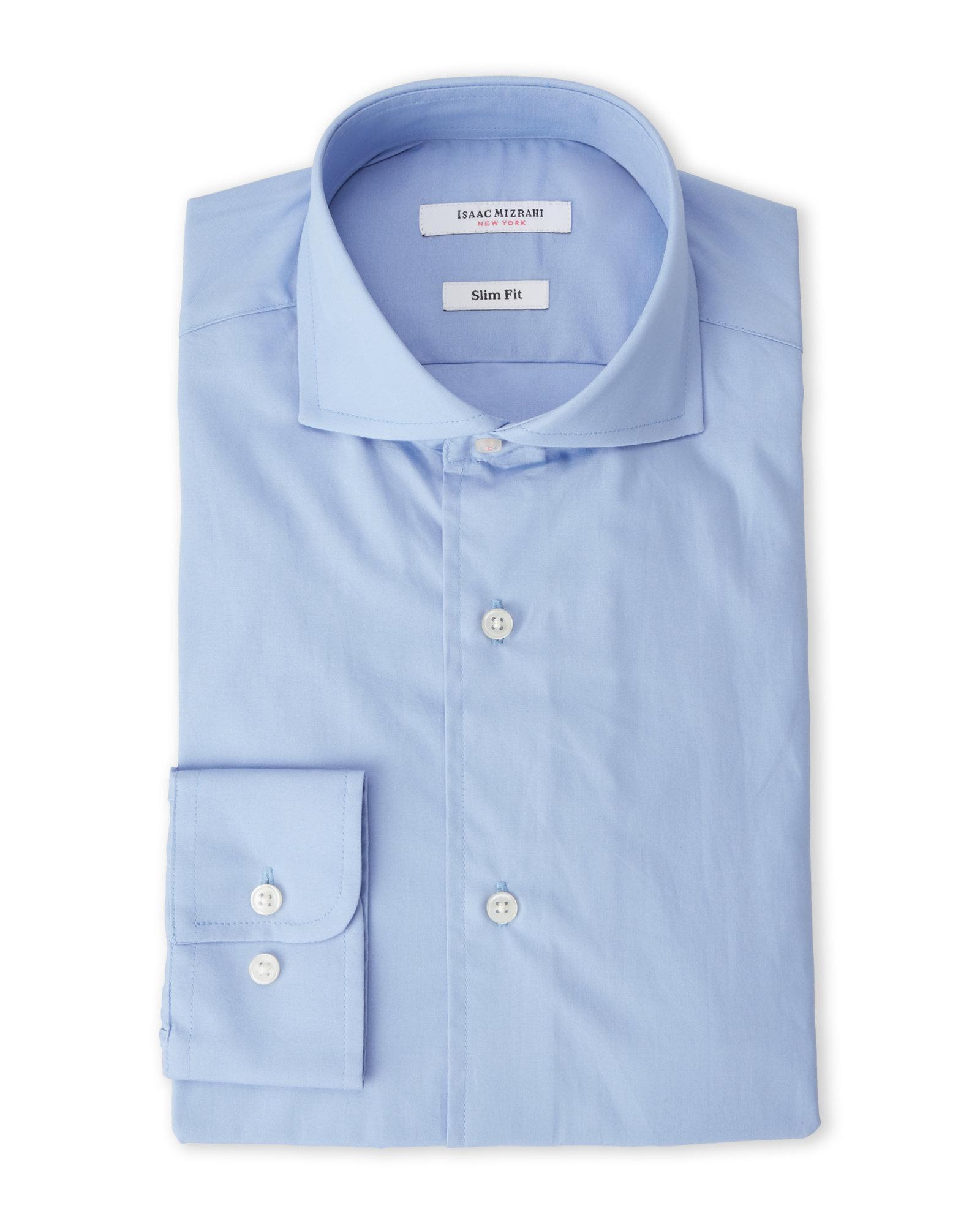 isaac mizrahi new york ice blue slim fit broadcloth dress