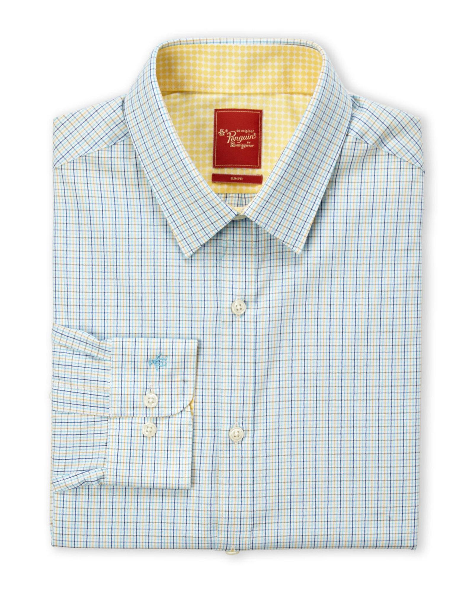 Original penguin blue yellow slim fit check dress shirt for Blue and yellow plaid dress shirt