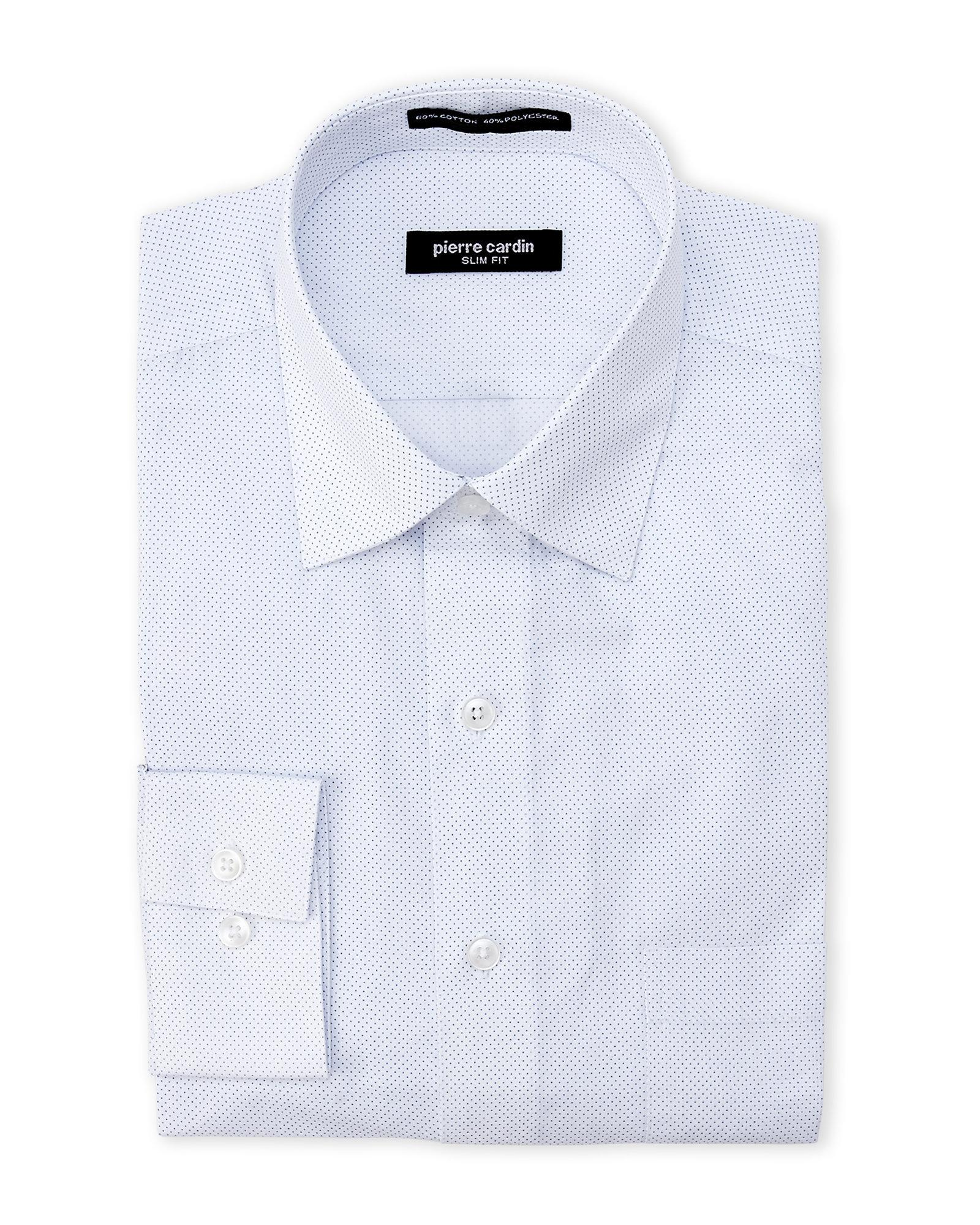 Pierre cardin slim fit cobalt dotted dress shirt in blue for Century 21 dress shirts