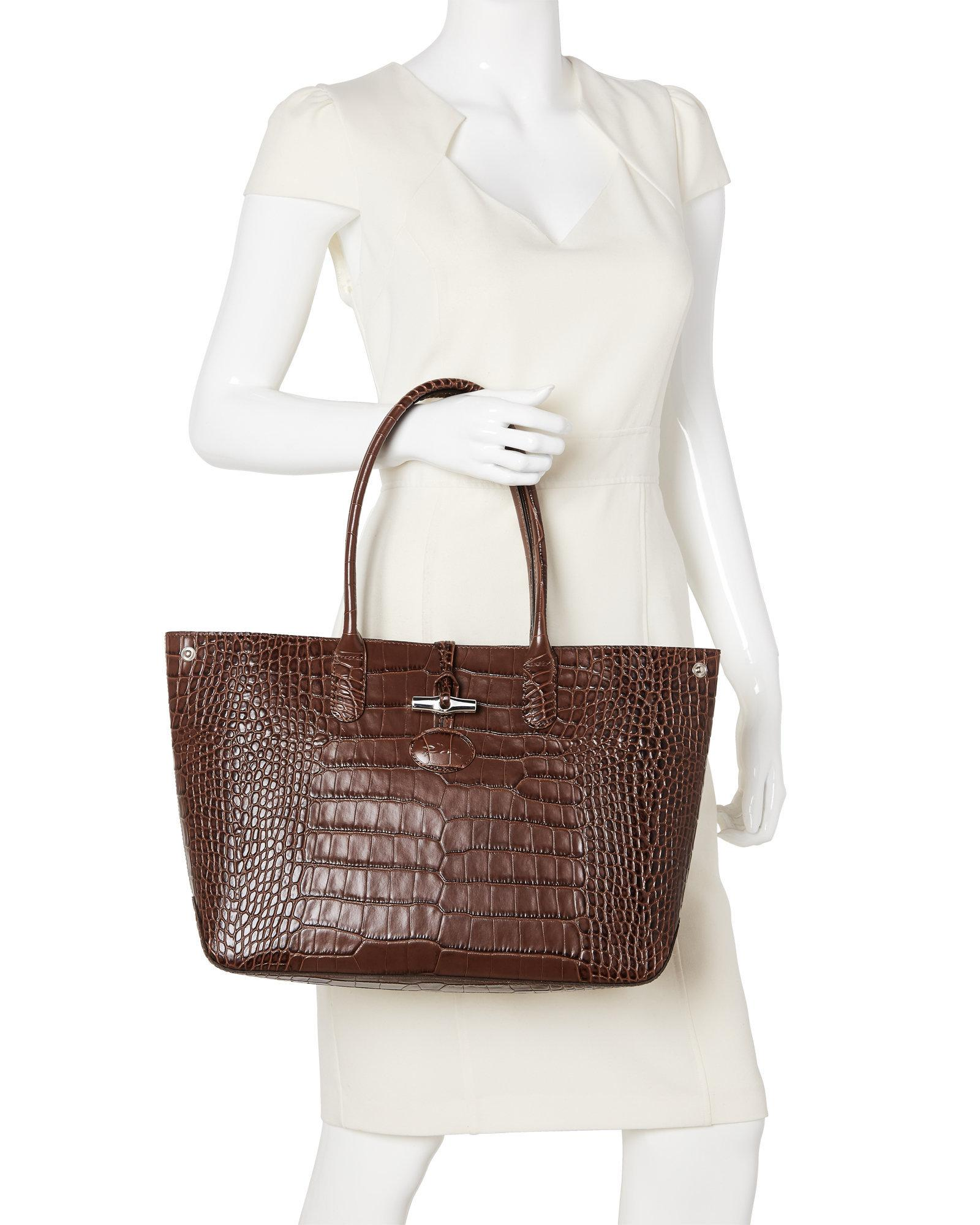 Lyst - Longchamp Brown Roseau Croc Embossed Shoulder Bag in Brown c7d2e41c8ab07