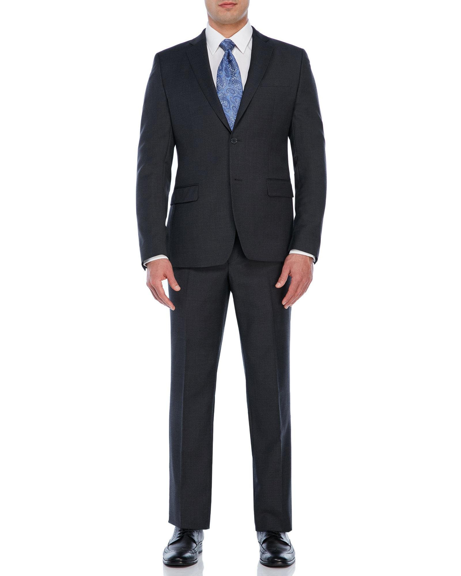 Versace Grey Solid Suit In Gray For Men