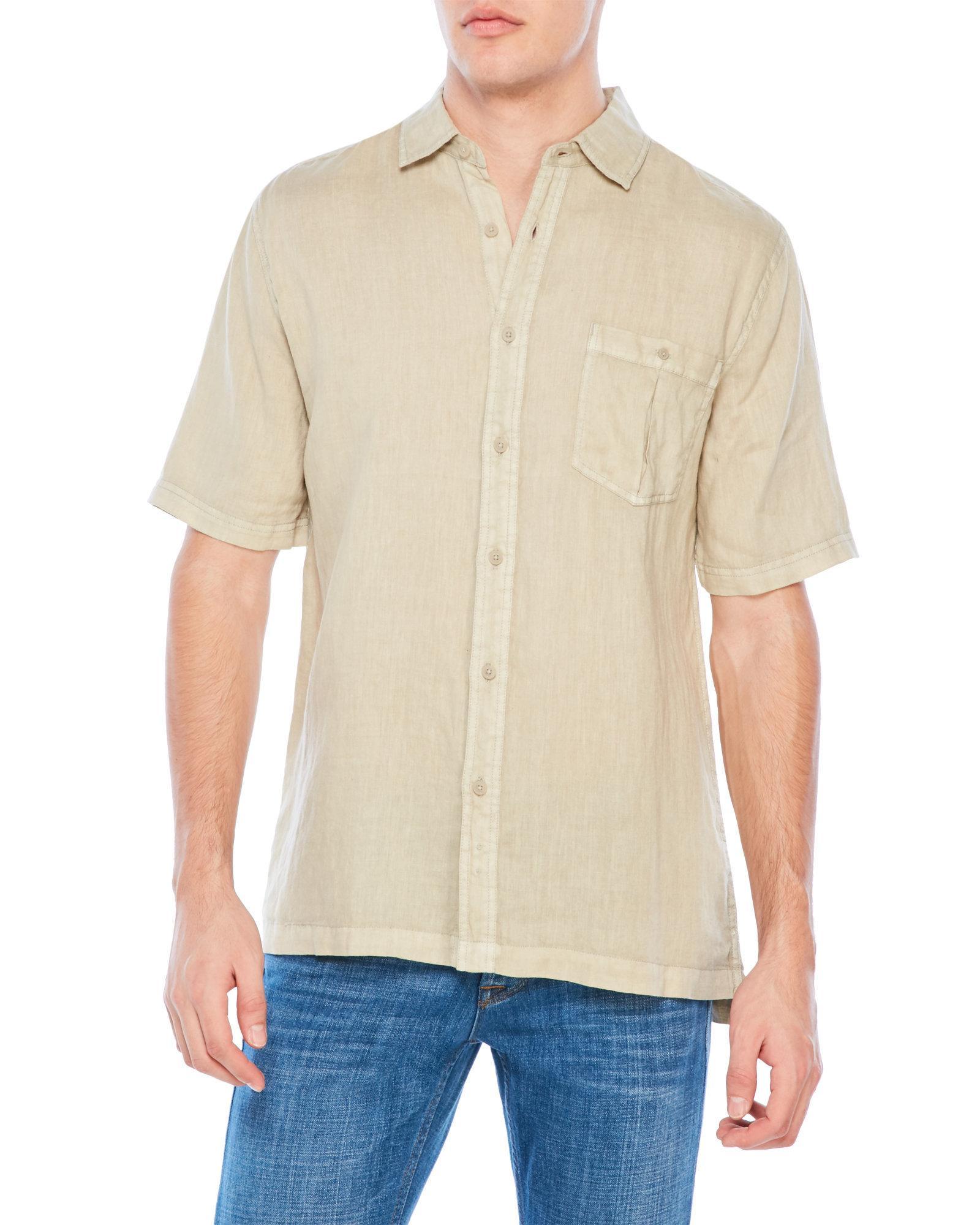 Raffi linen patch pocket shirt in natural for men lyst for Century 21 dress shirts