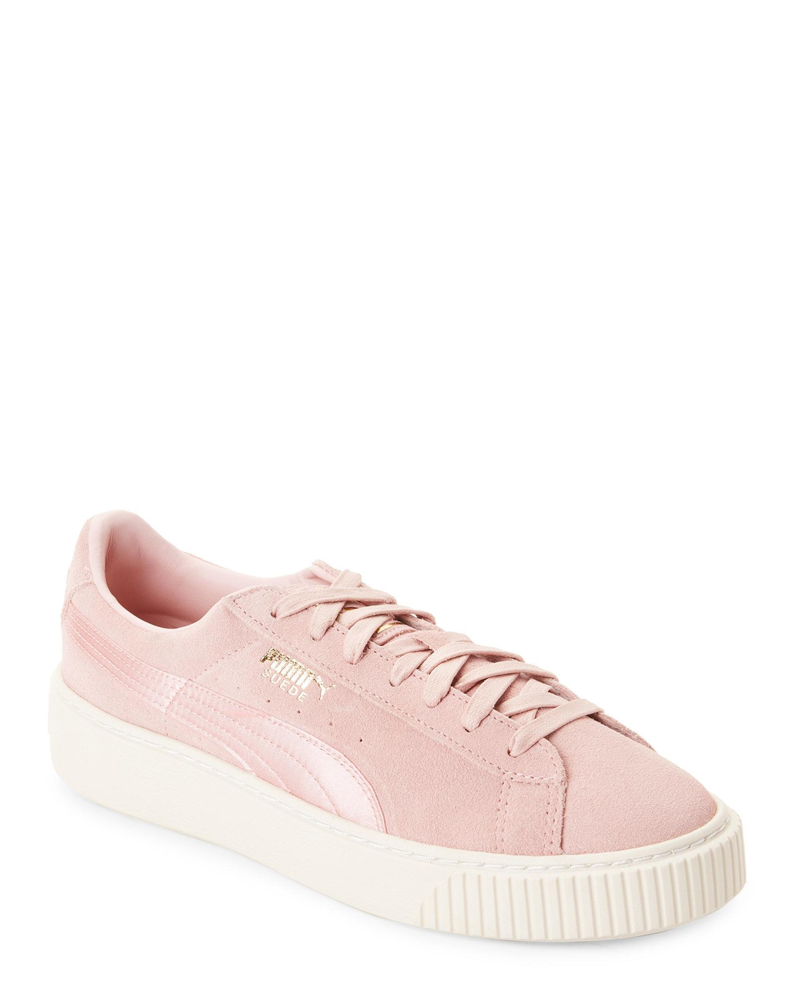d1ddabac8f86 Lyst - PUMA Light Pink Suede Summer Satin Platform Sneakers in Pink