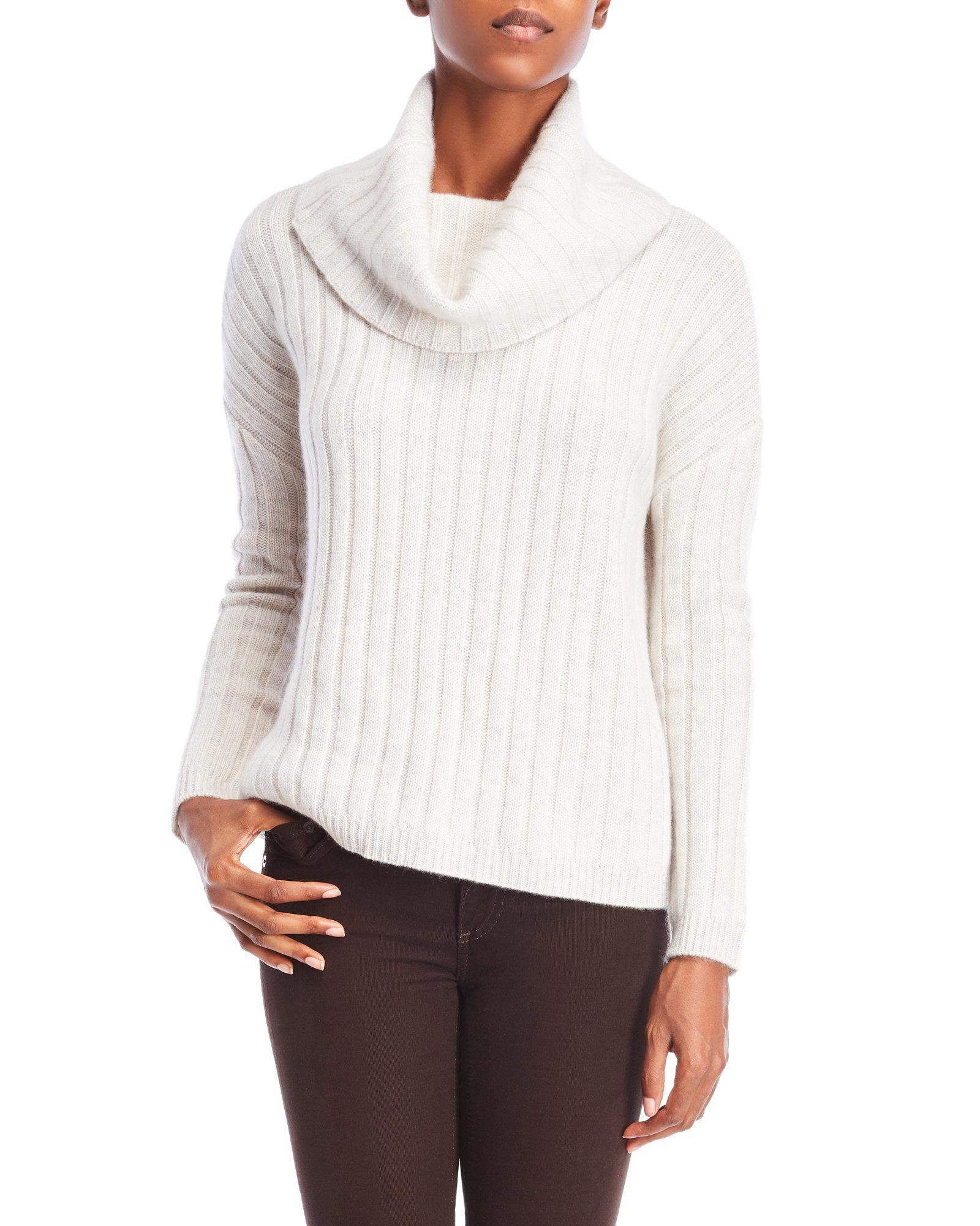 Ply cashmere Cowl Neck Ribbed Sweater in White | Lyst