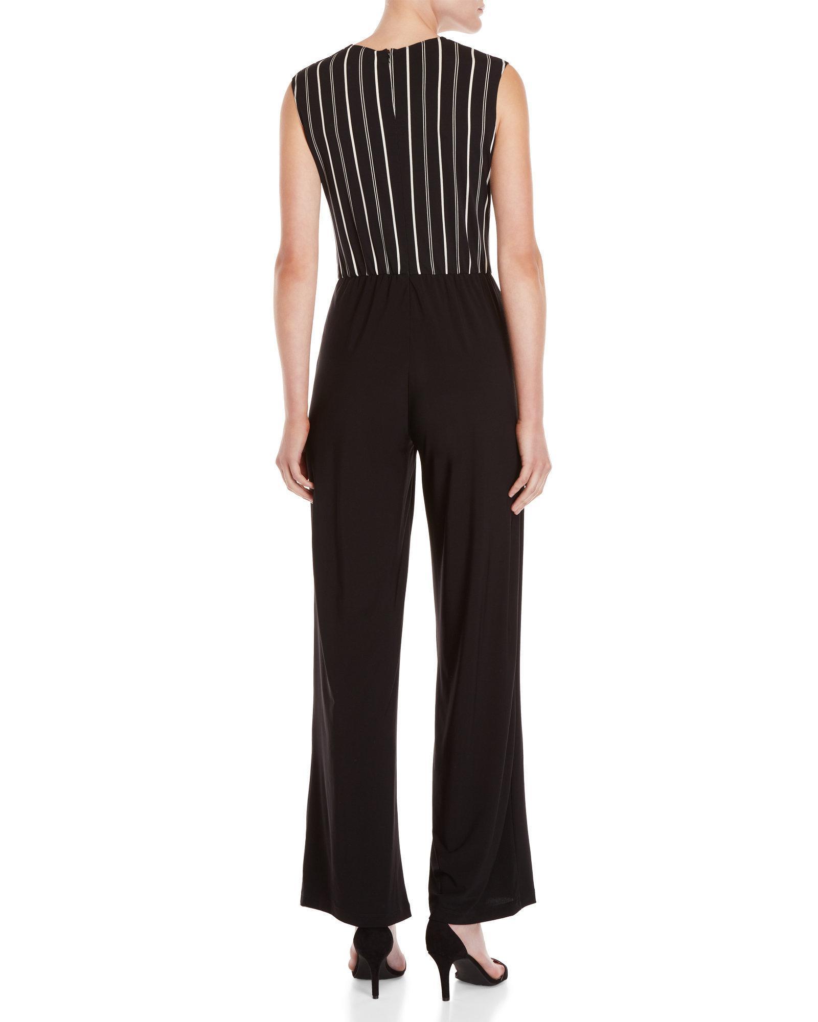 c8a2ef18cdb3 Lyst - Bebe Pinstripe Bodice Jumpsuit in Black