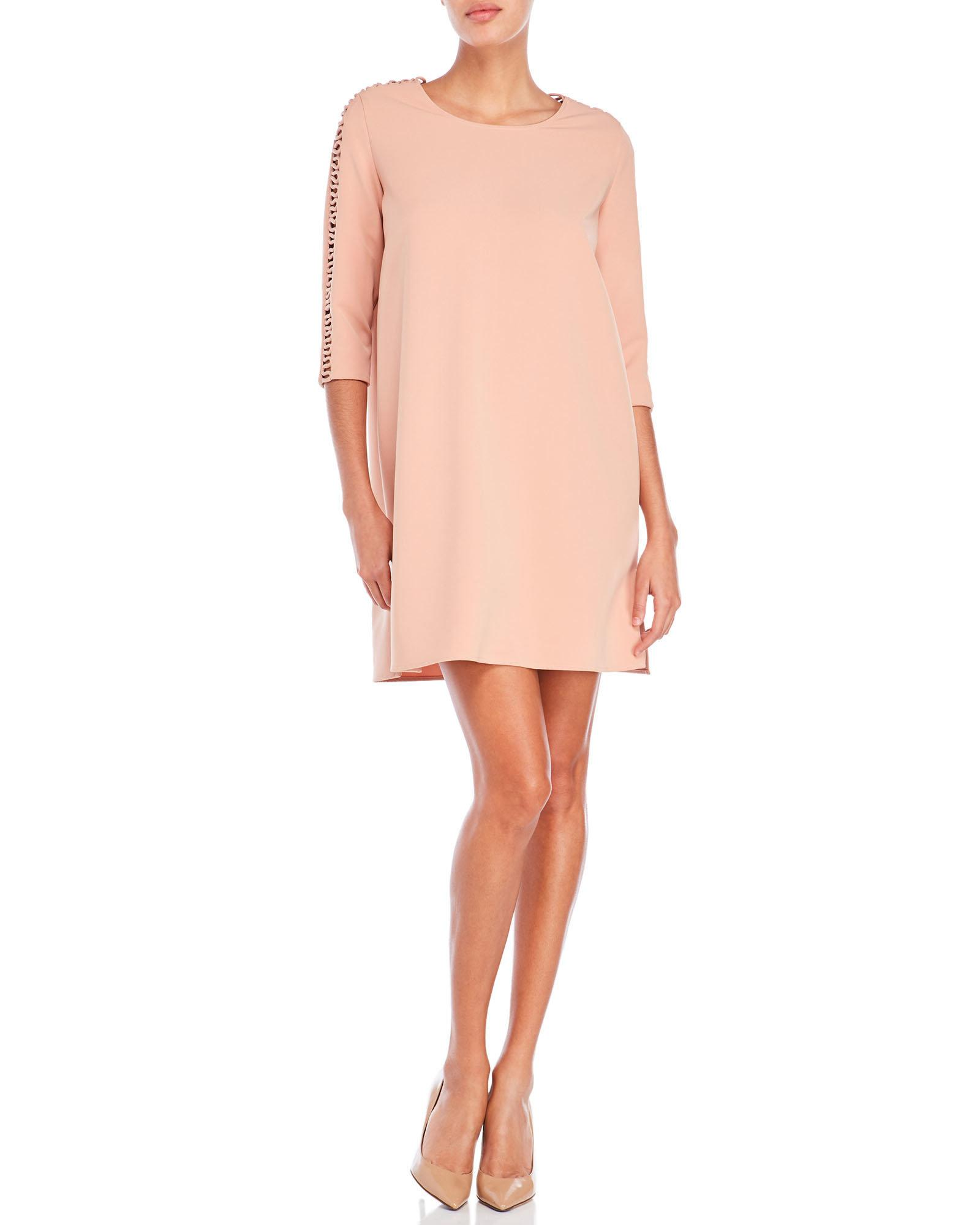 hotel particulier peek a boo sleeve shift dress in pink lyst. Black Bedroom Furniture Sets. Home Design Ideas