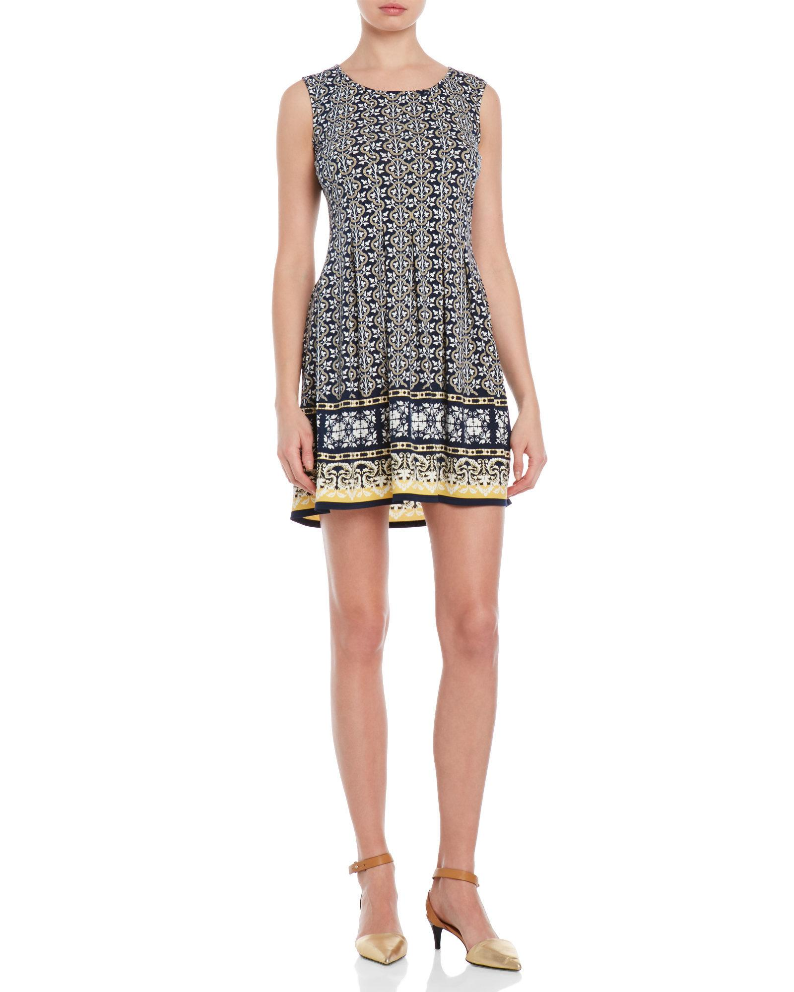 Max Studio Petite Sleeveless Printed Fit Amp Flare Dress In