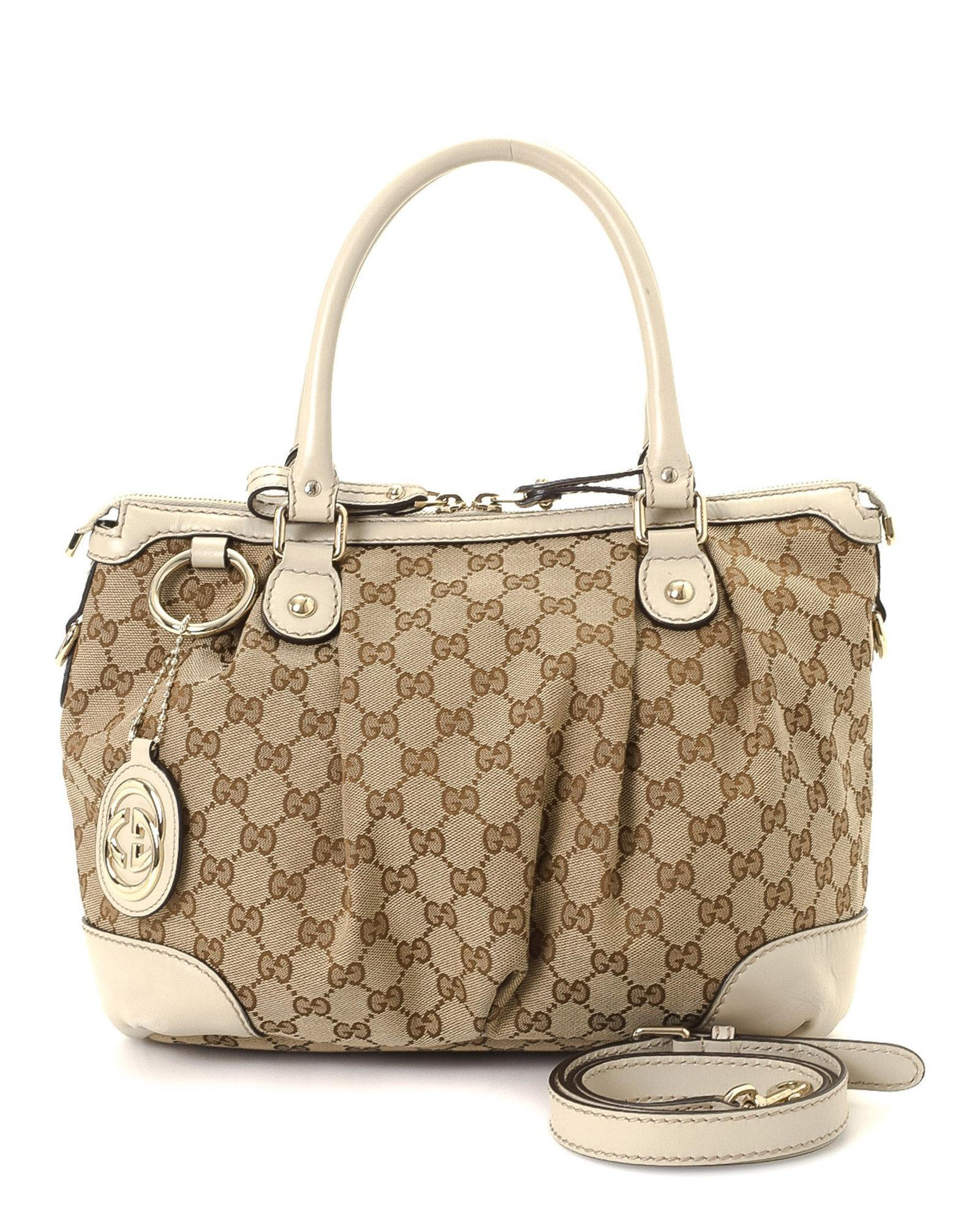 0ae9a2b7b Gucci Gg Canvas Sukey Two-way Handbag - Vintage in Natural - Lyst