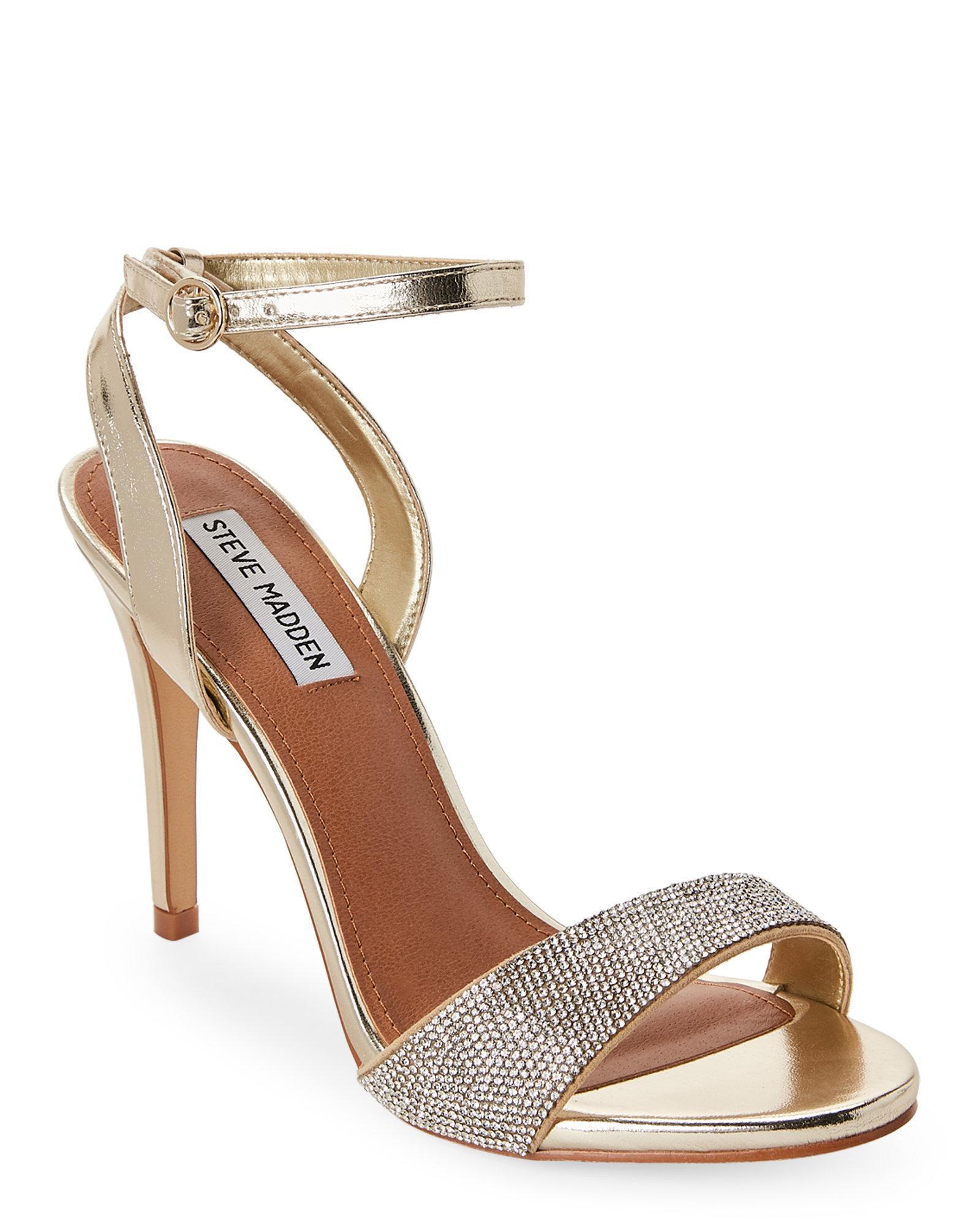 894701554766 Lyst - Steve Madden Gold Ritter Rhinestone Sandals in Metallic
