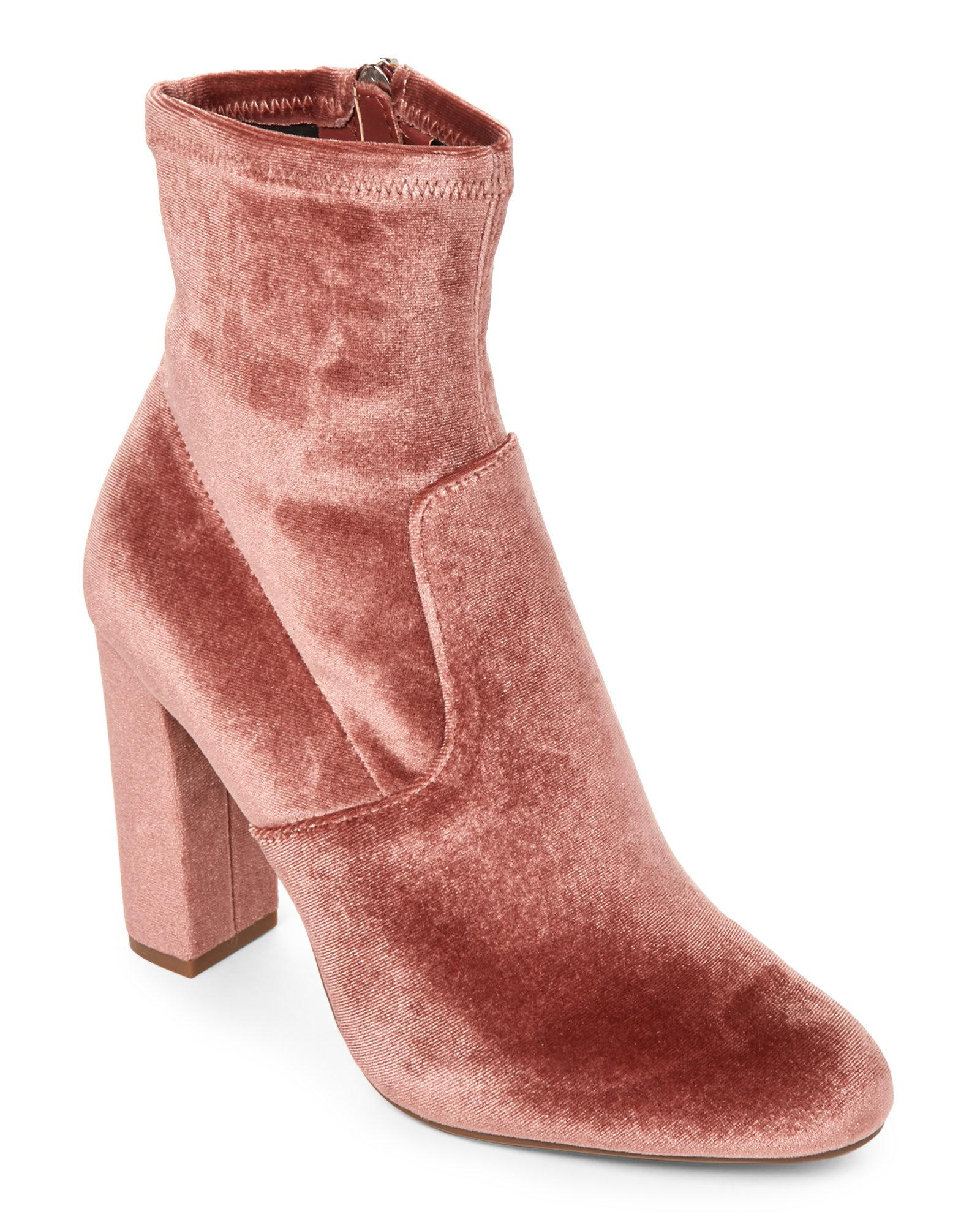 be844cd8e2d Lyst - Steve Madden Blush Edit Velvet Booties in Pink