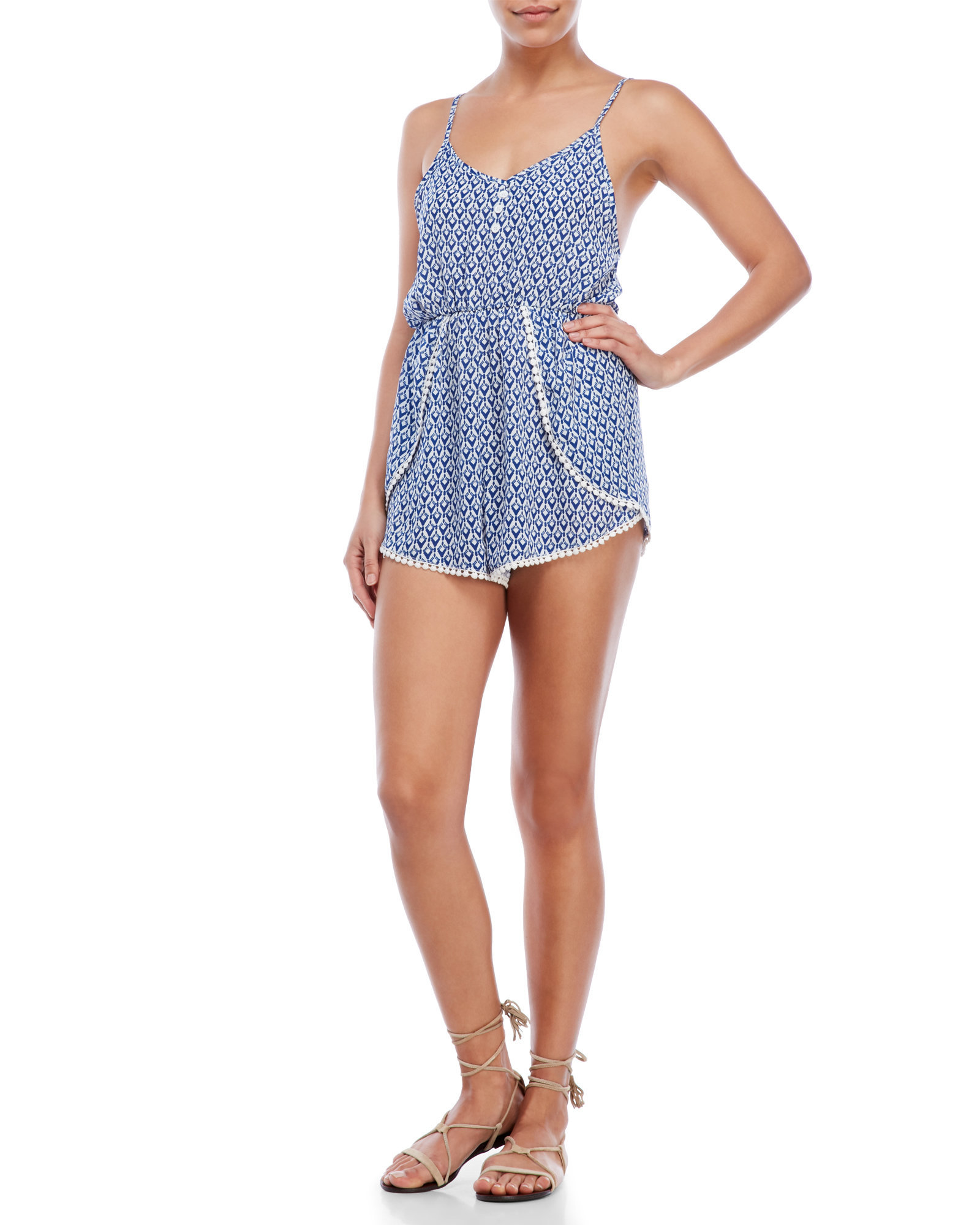 8300df94b97 Lyst - Olivaceous Printed Pom-Pom Romper in Blue