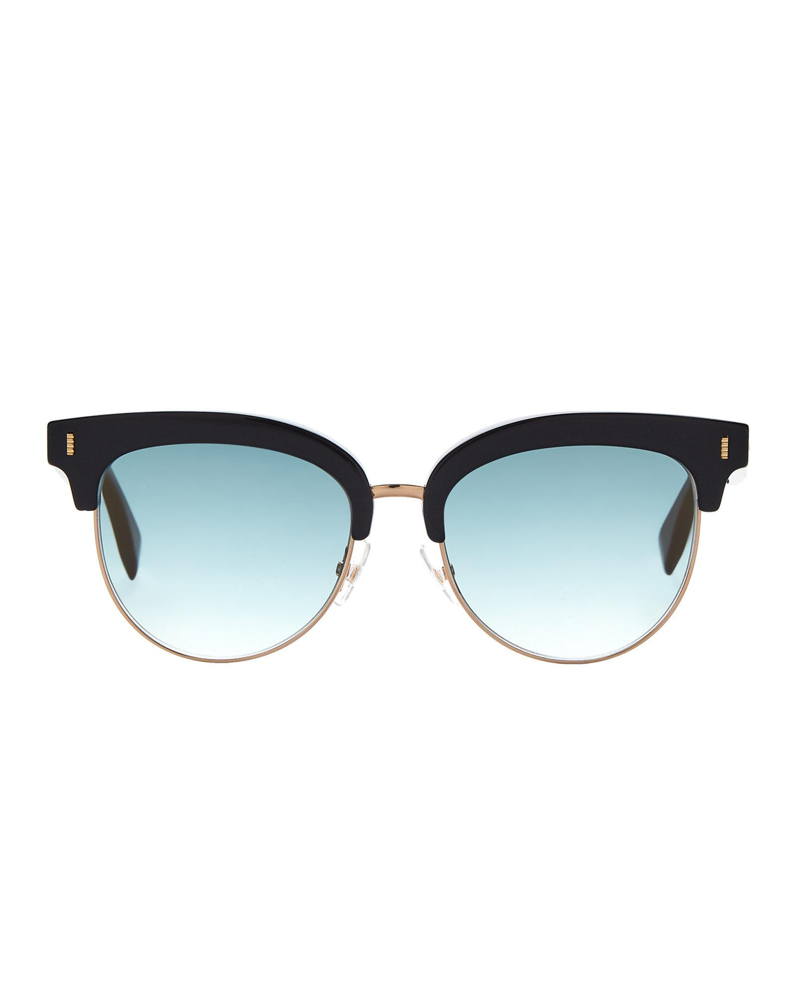 9001f8ec7d Fendi Mirrored Half-rim Sunglasses in Black - Lyst