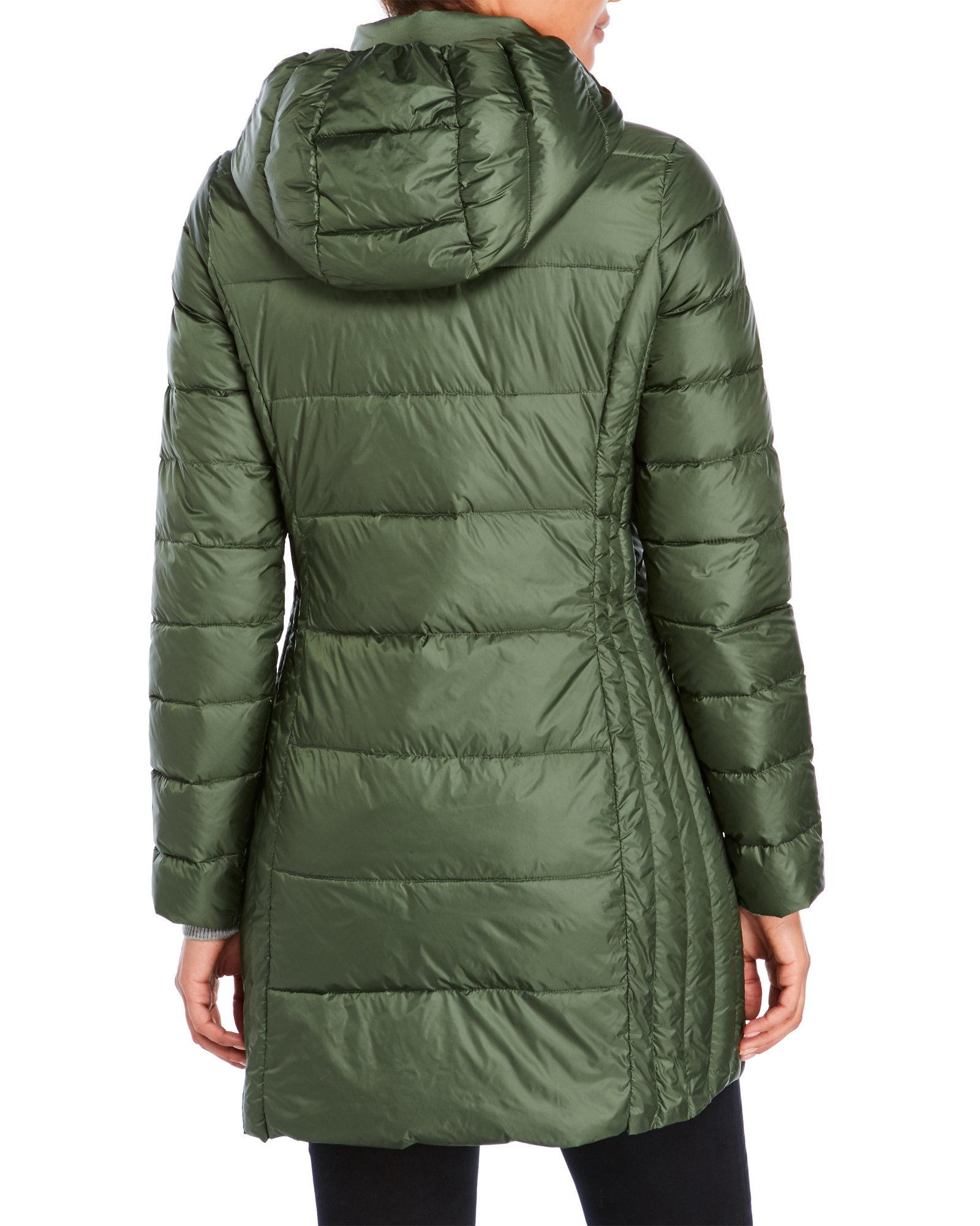 Weatherproof Packable Ultra Light Down Long Jacket In Green Lyst