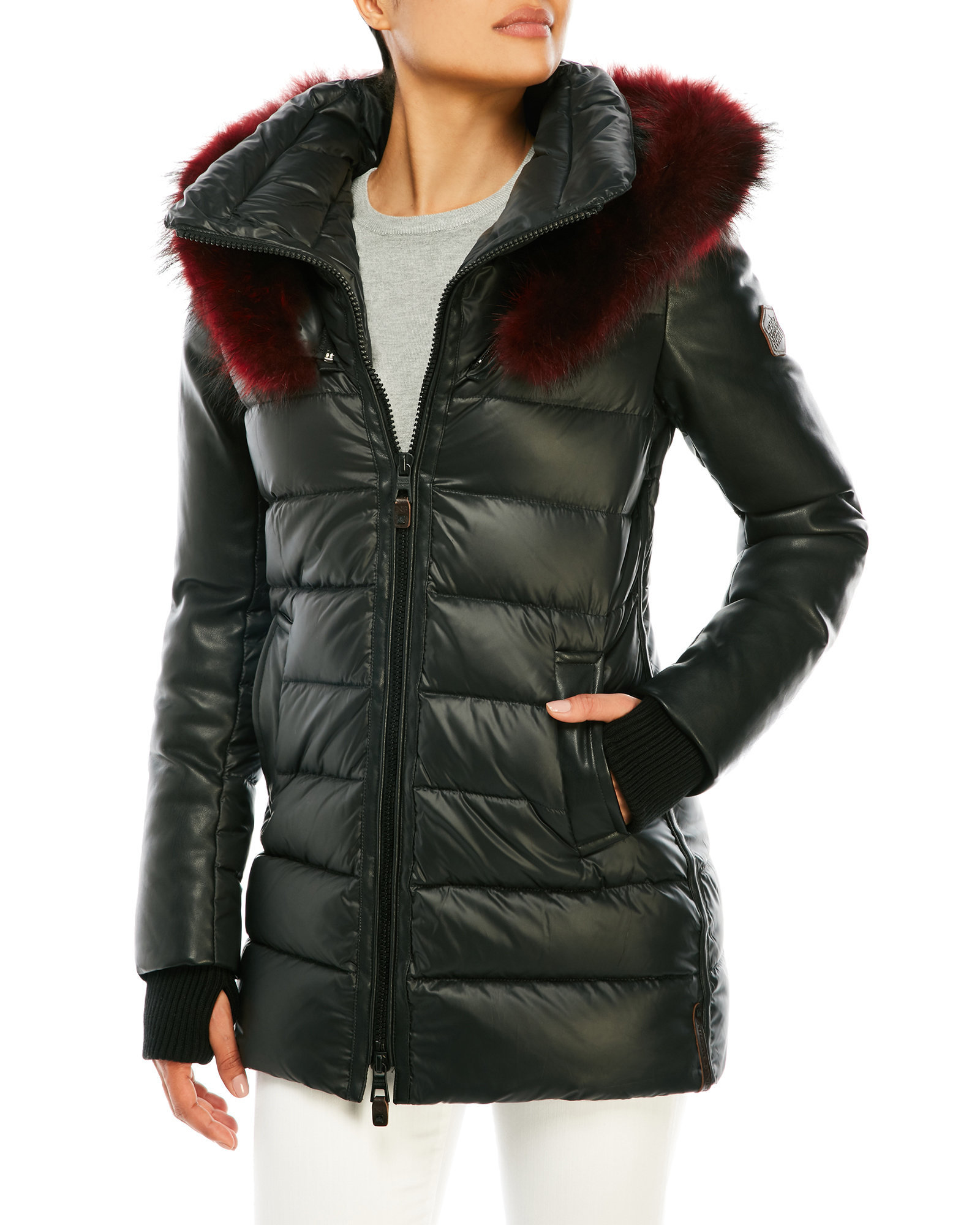 Lyst Nicole Benisti Quilted Puffer Jacket With Real Fur