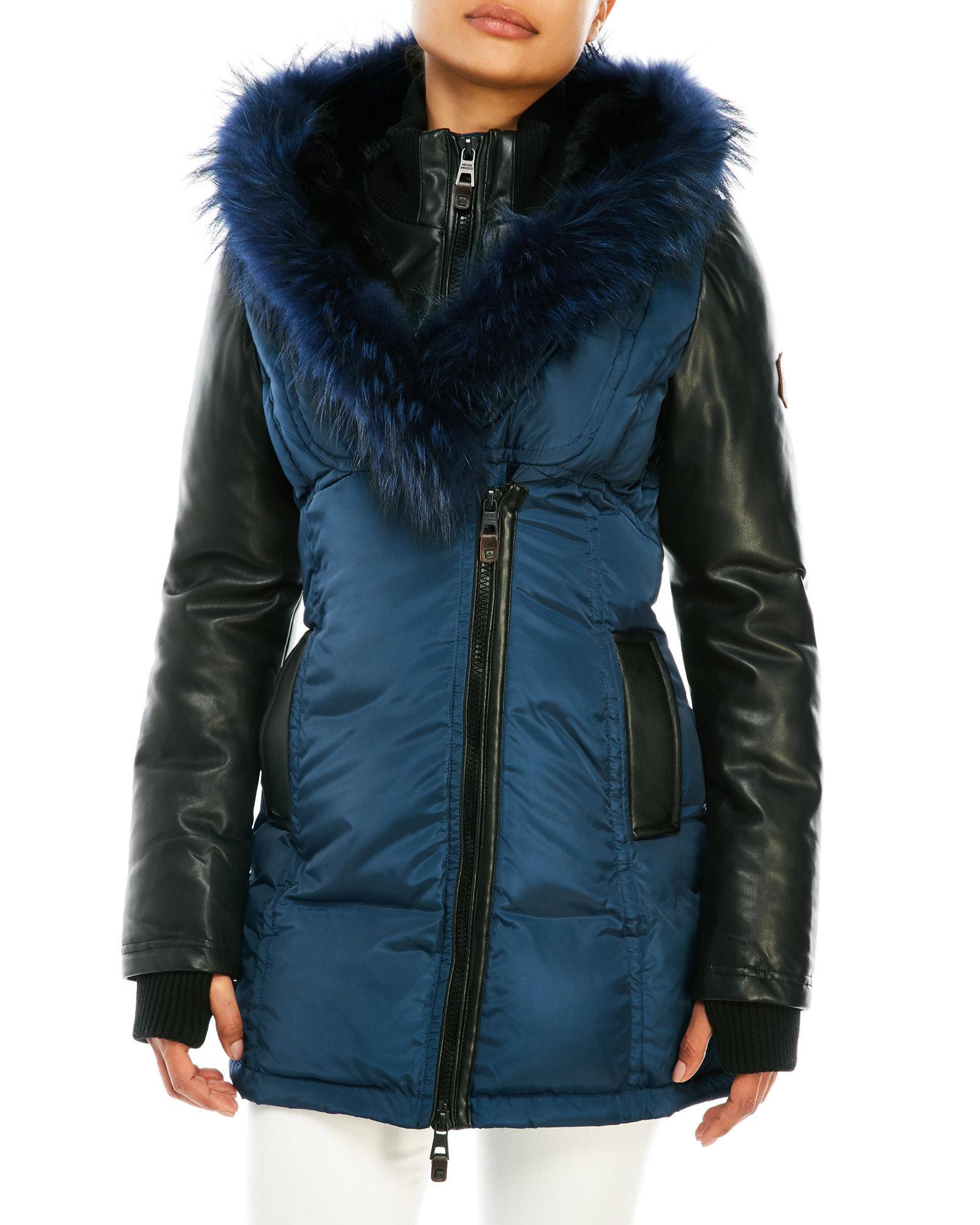 Nicole benisti Asymmetrical Zip Coat With Real Fur Trim Hood in ...