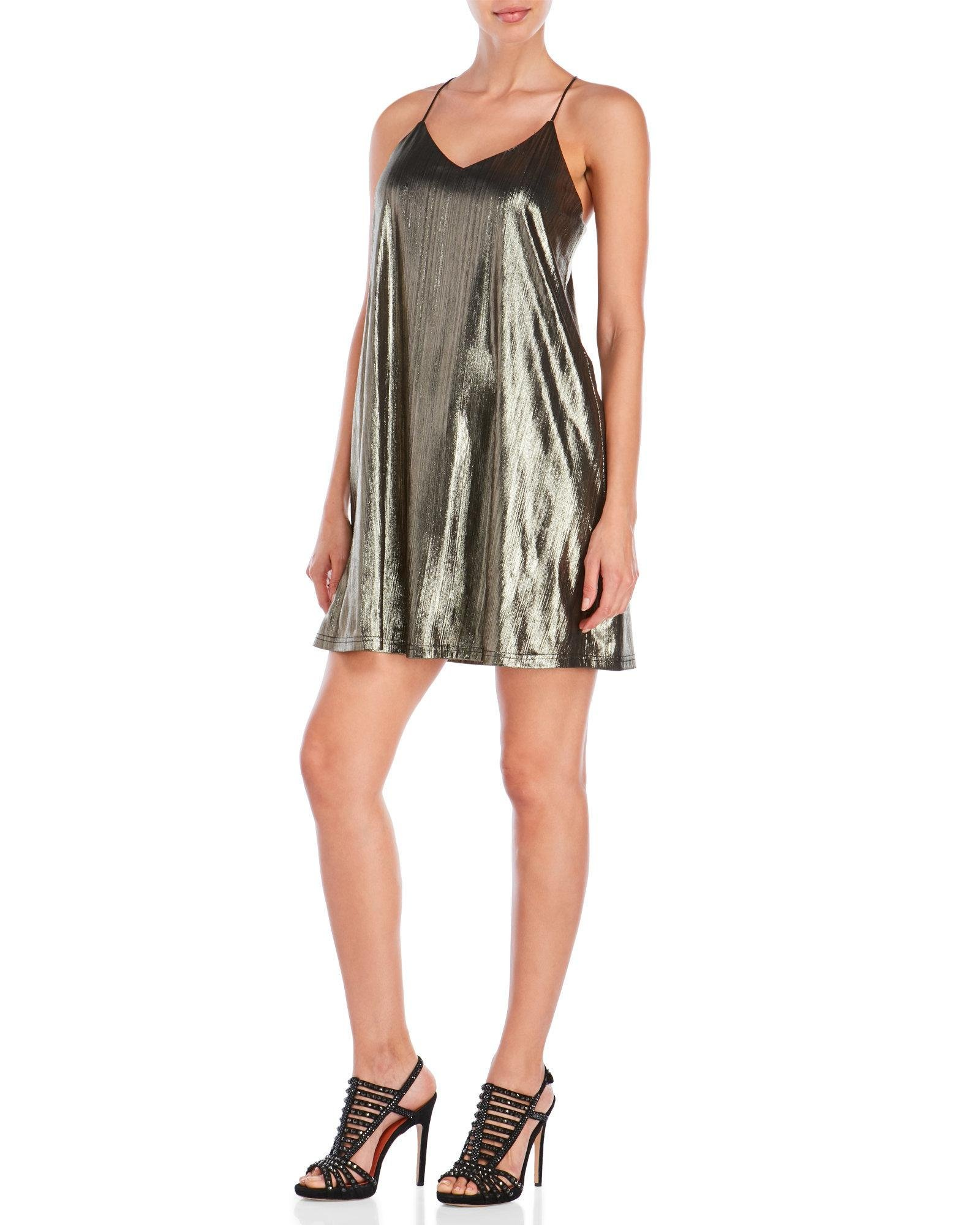 Lyst She Sky Metallic Shift Dress In Black