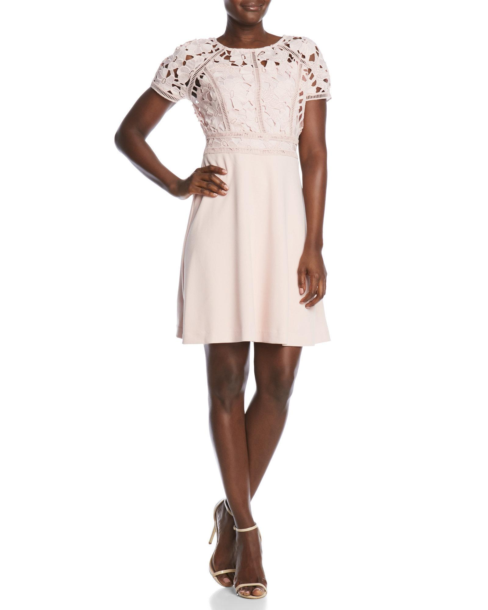 Ivanka trump Lace Bodice Fit And Flare Dress in Pink | Lyst
