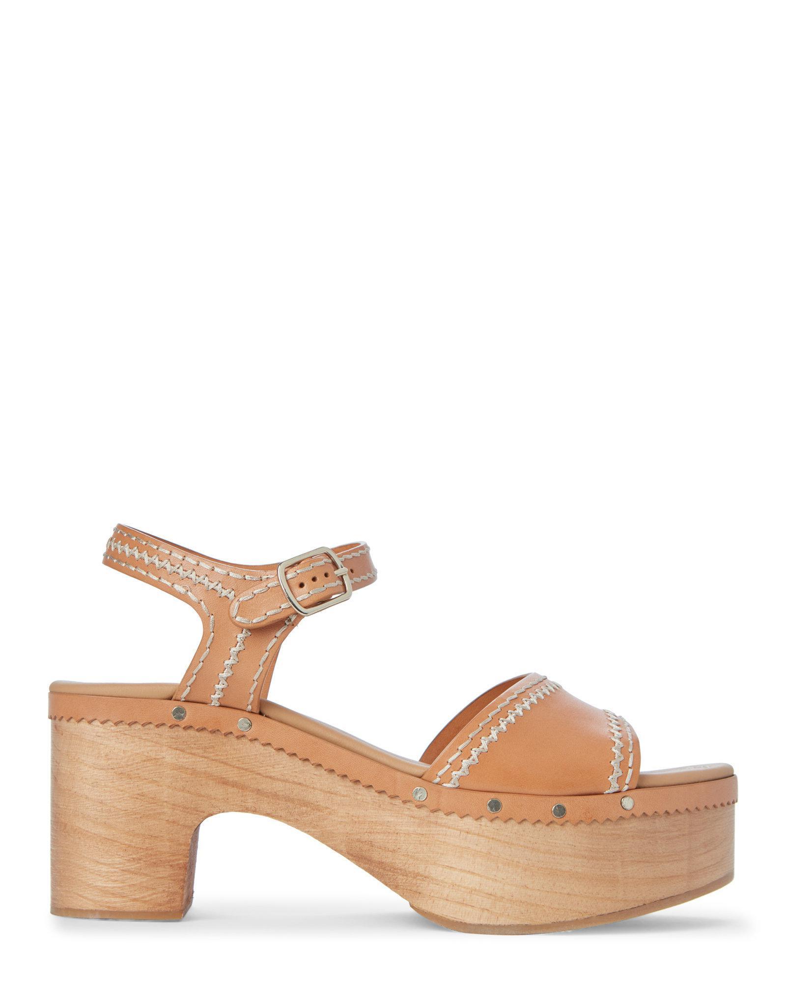 b58cf1d0cb037 Lyst - Sandro Camel Audry Wooden Platform Sandals in Natural