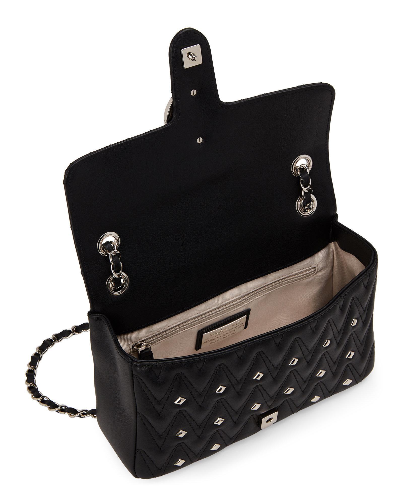 0ebe0534f8d1 Lyst - Valentino By Mario Valentino Black Antoinette Studded Chain ...