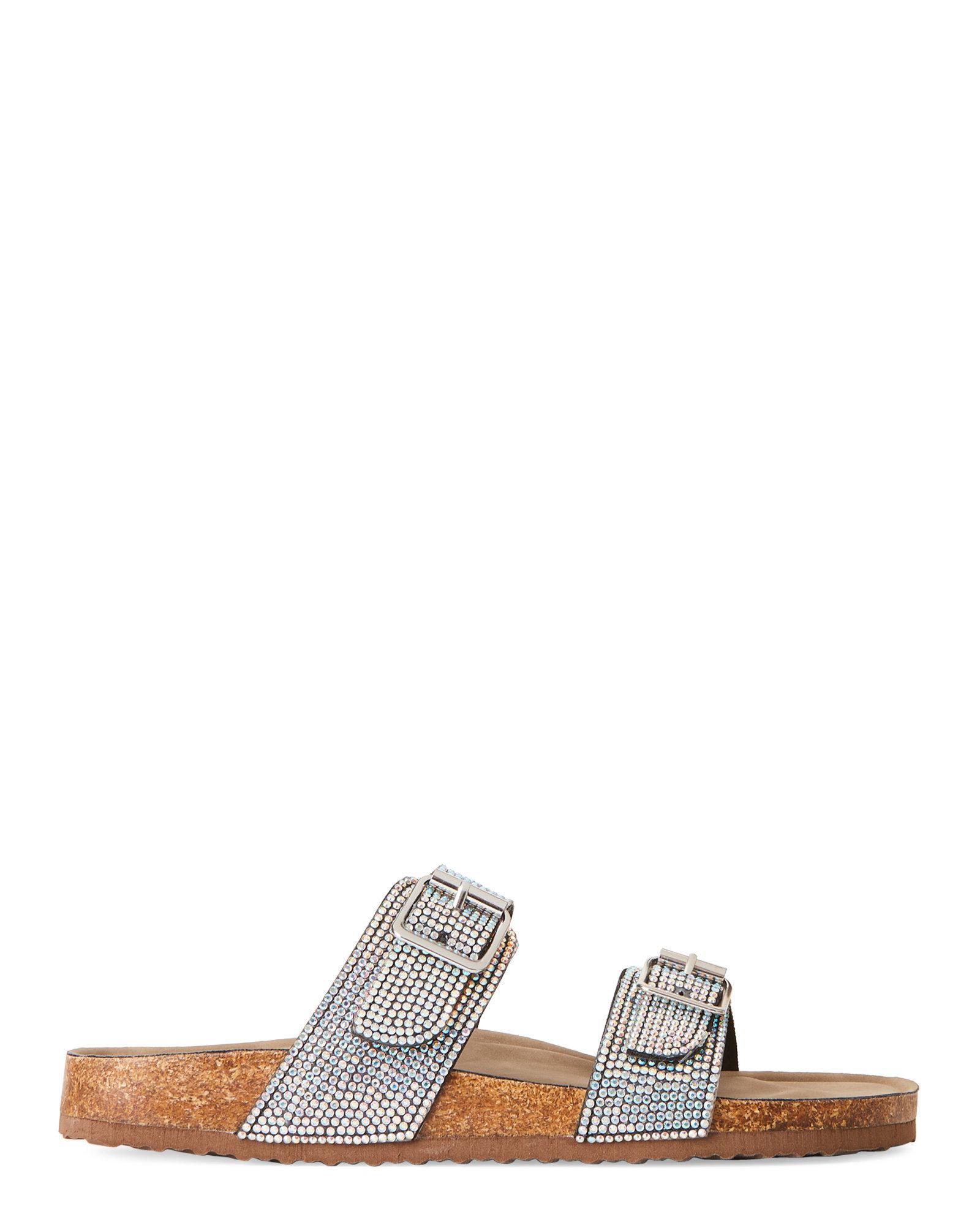 1113a30ebe4bdd Lyst - Madden Girl Iridescent Brando Embellished Footbed Sandals