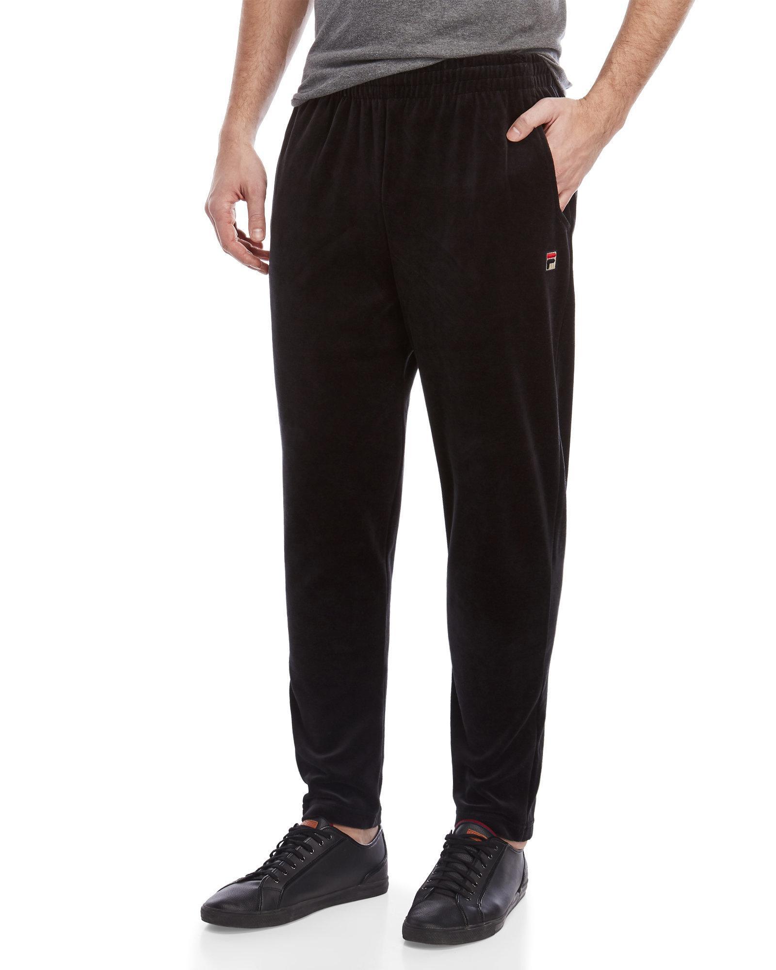 c8d4d30c34b Fila Slim Fit Velour Pants in Black for Men - Lyst