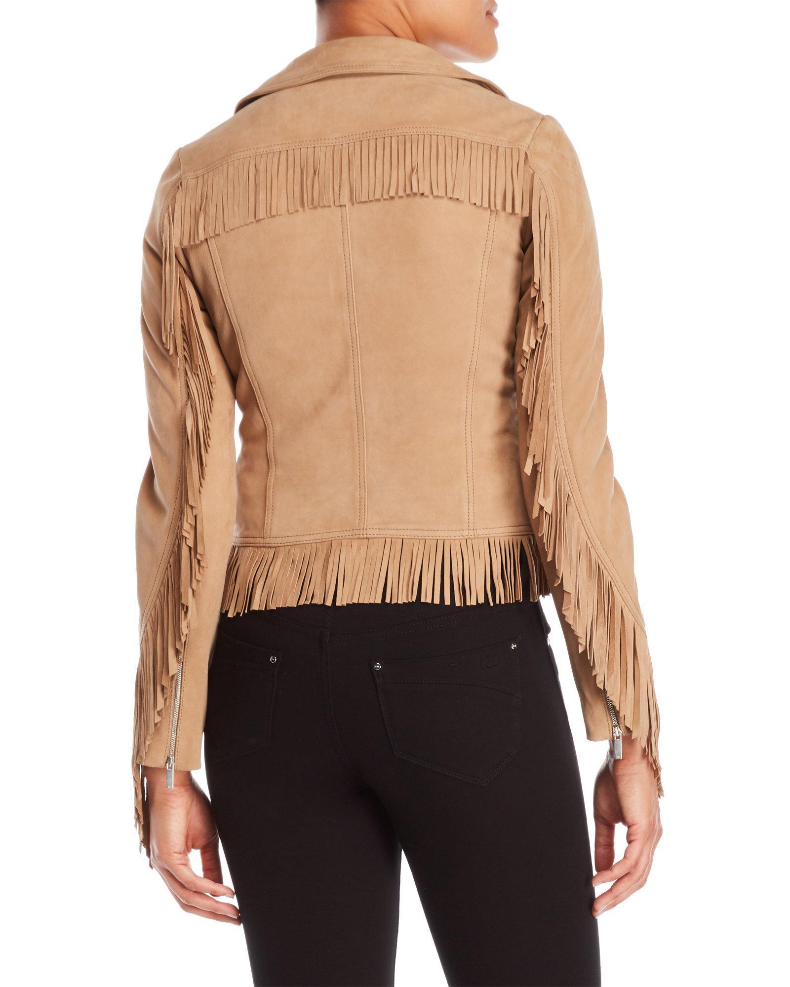 1305ad7b7945f Lyst - Karen Millen Fringe Leather Jacket in Black