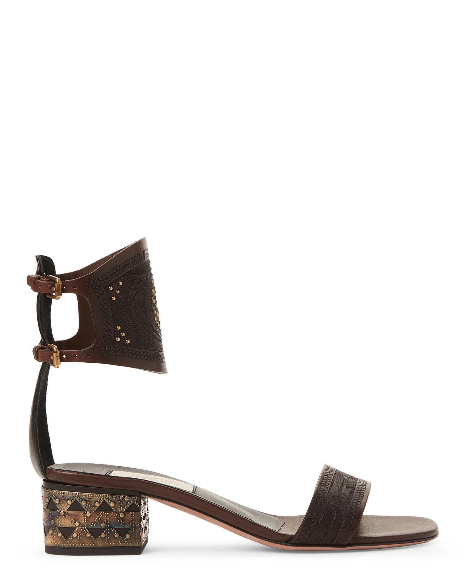 a56b64473ac Lyst - Valentino Embossed Ankle Strap Studded Sandals in Brown