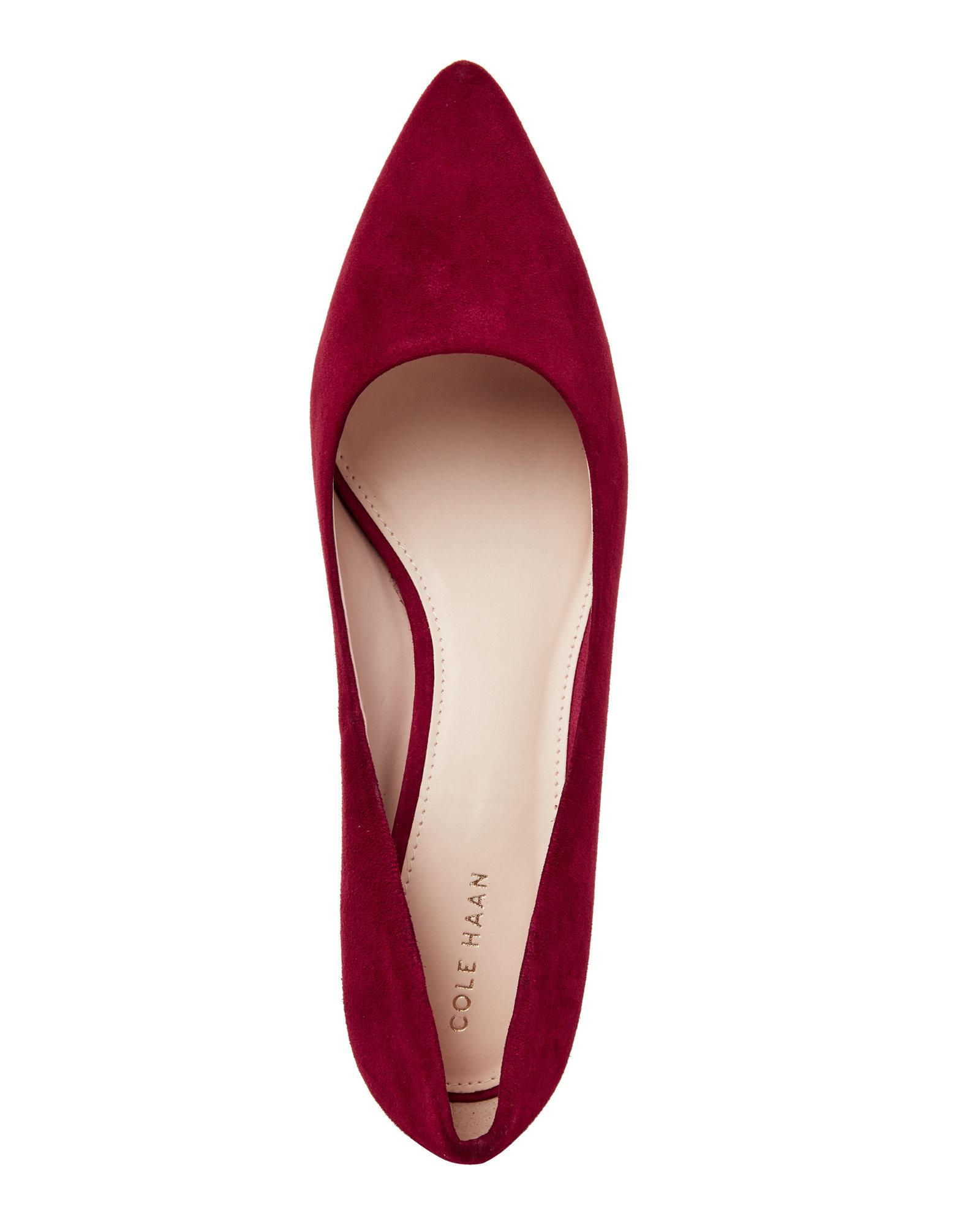 73343900d4f Lyst - Cole Haan Harlow Suede Pumps in Red