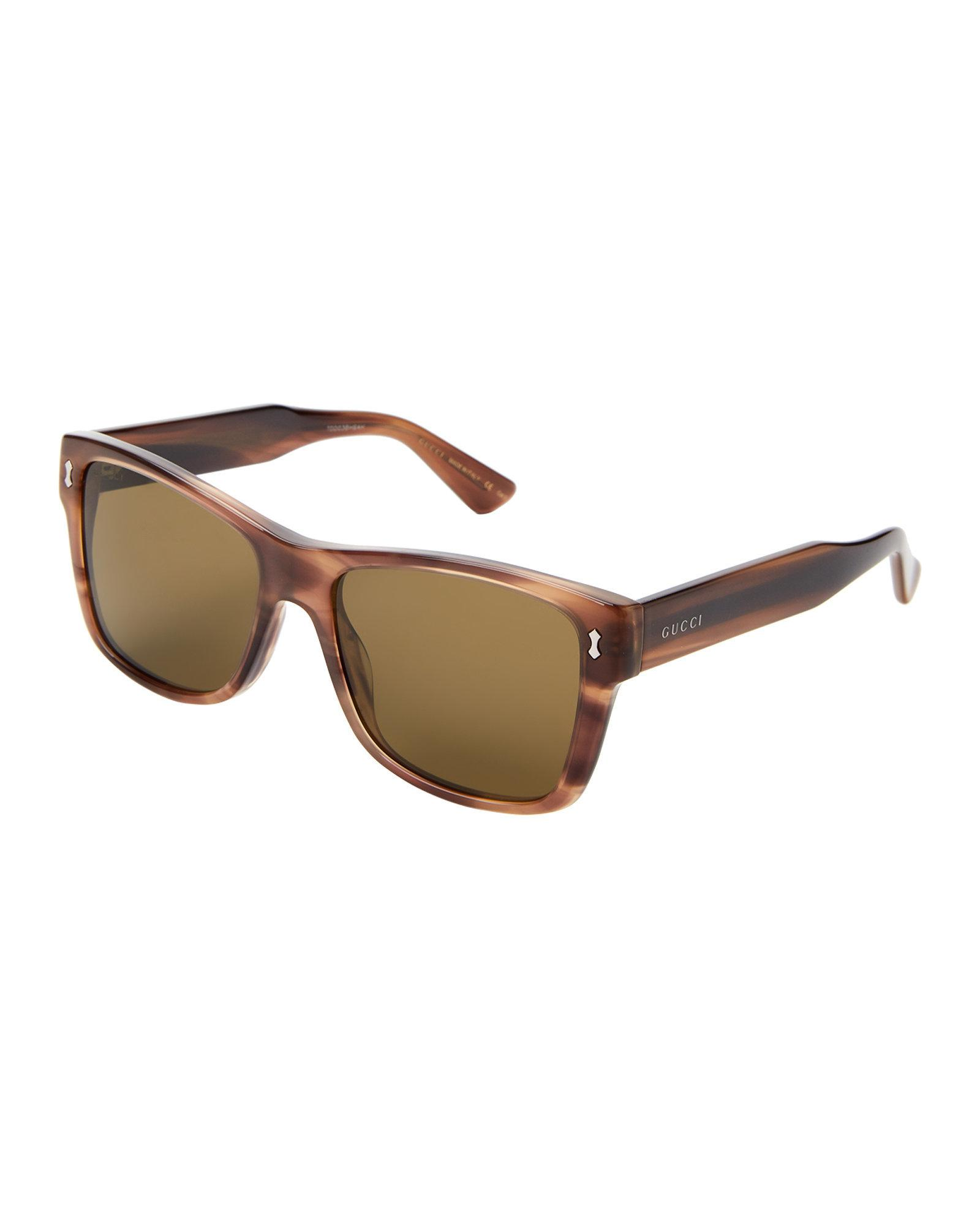 1153e89cdaf Lyst - Gucci Gg 0052 s Tortoiseshell-look Rectangle Sunglasses in Brown