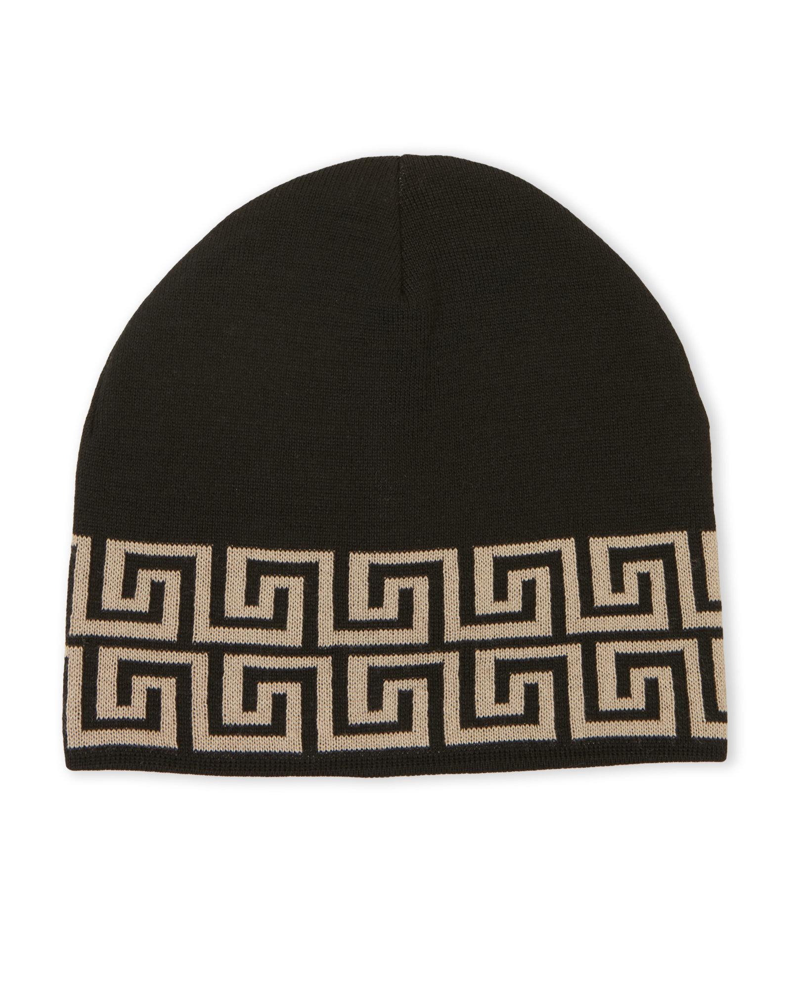 ff628a57 ... switzerland lyst versace greek key print knit hat for men c2882 55063