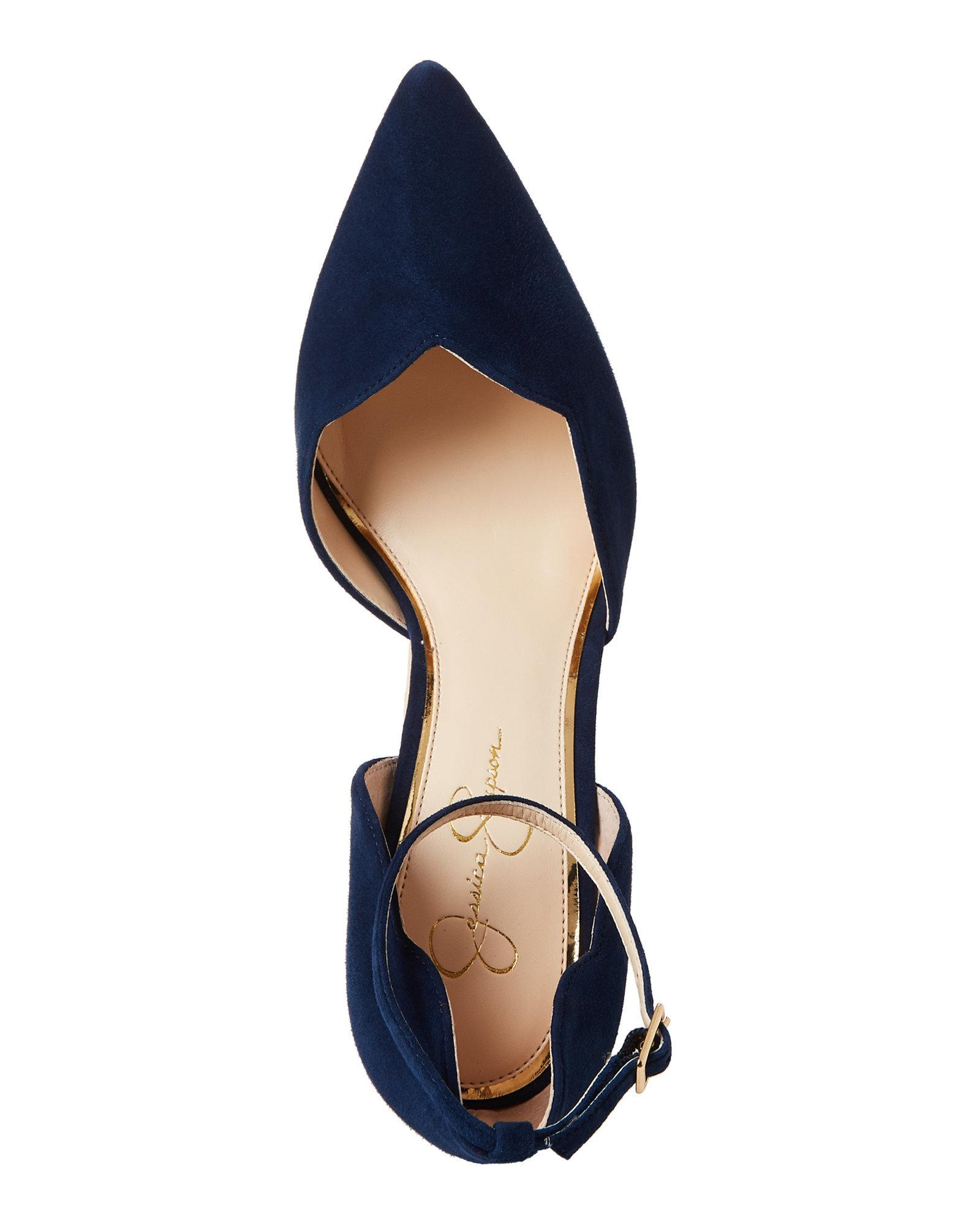 83af52f7fb7a Lyst - Jessica Simpson Celestial Blue Pairus Scalloped Suede Pumps ...