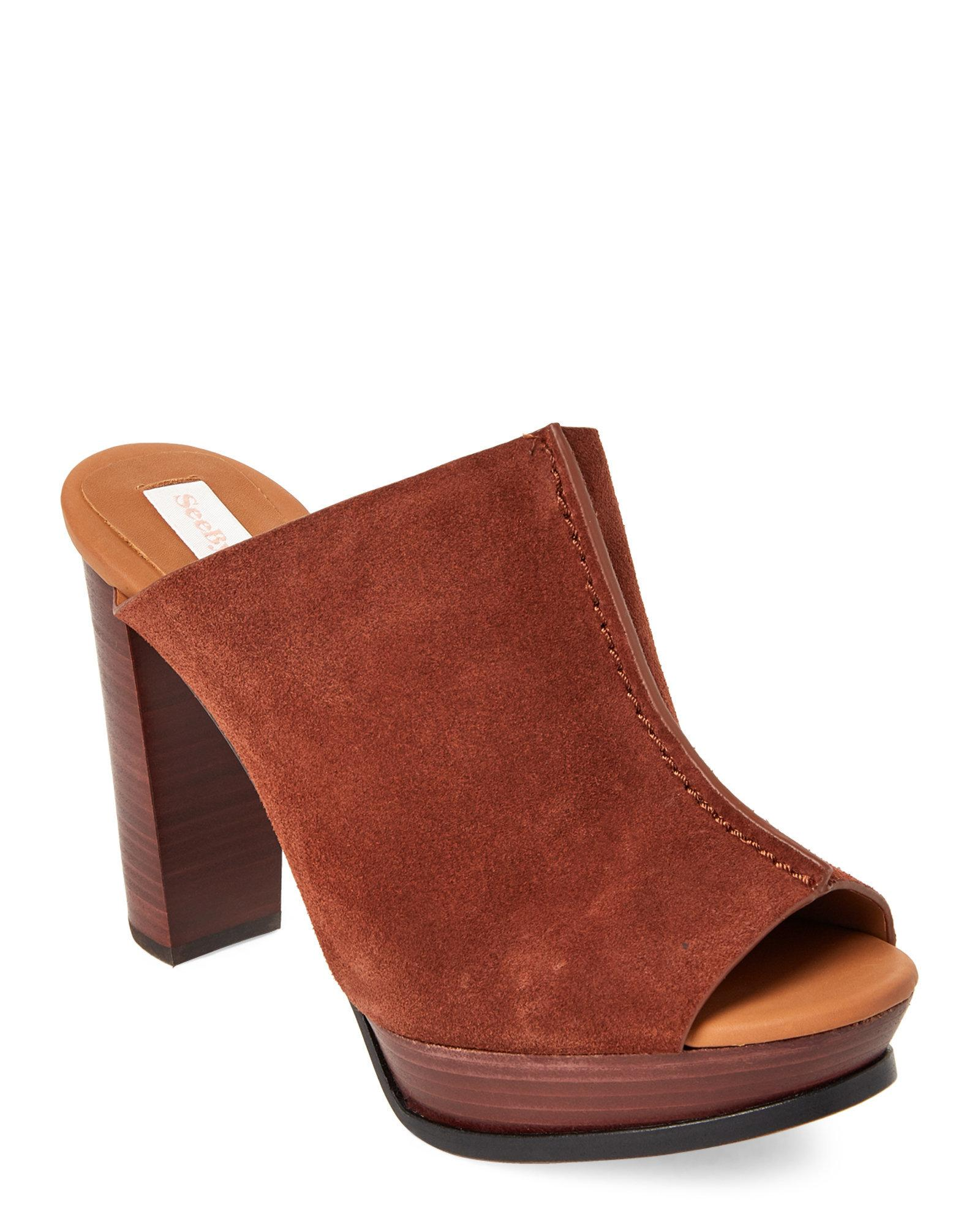 70f7bad15f9e50 Lyst - See By Chloé Brown Split Seam Platform Mules in Brown