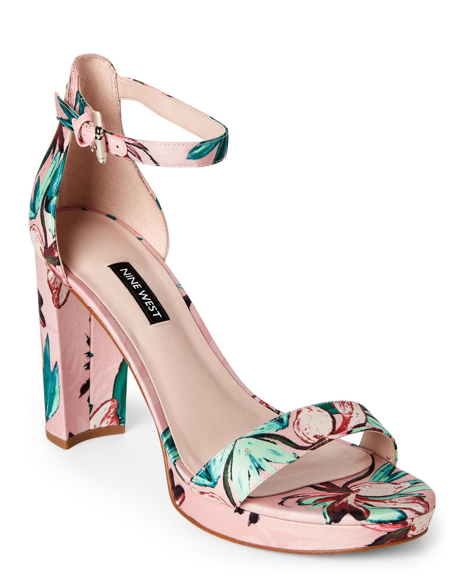 0be023ba7d8 Lyst - Nine West Pink Dempsey Floral Satin Block Heel Sandals in Pink