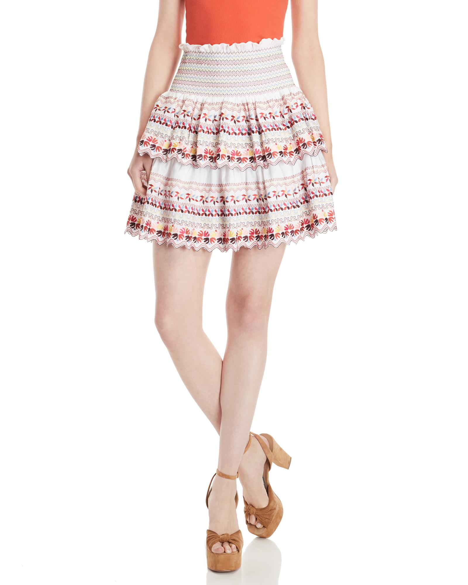 c8988cf047 Lyst - AMUR Tiered Embroidered Mini Skirt in White - Save 39%