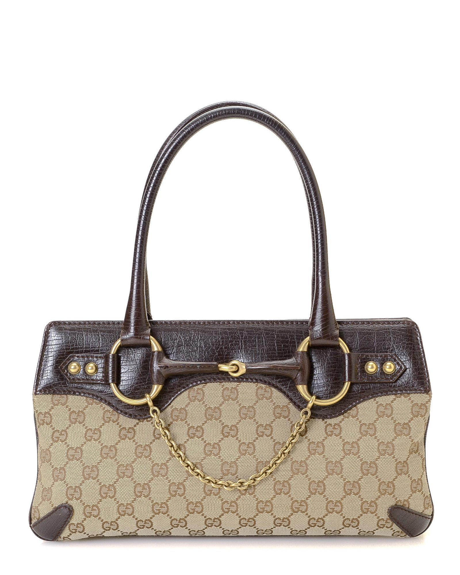 dcf745d36 Gucci GG Canvas Horsebit Handbag - Vintage in Natural - Lyst