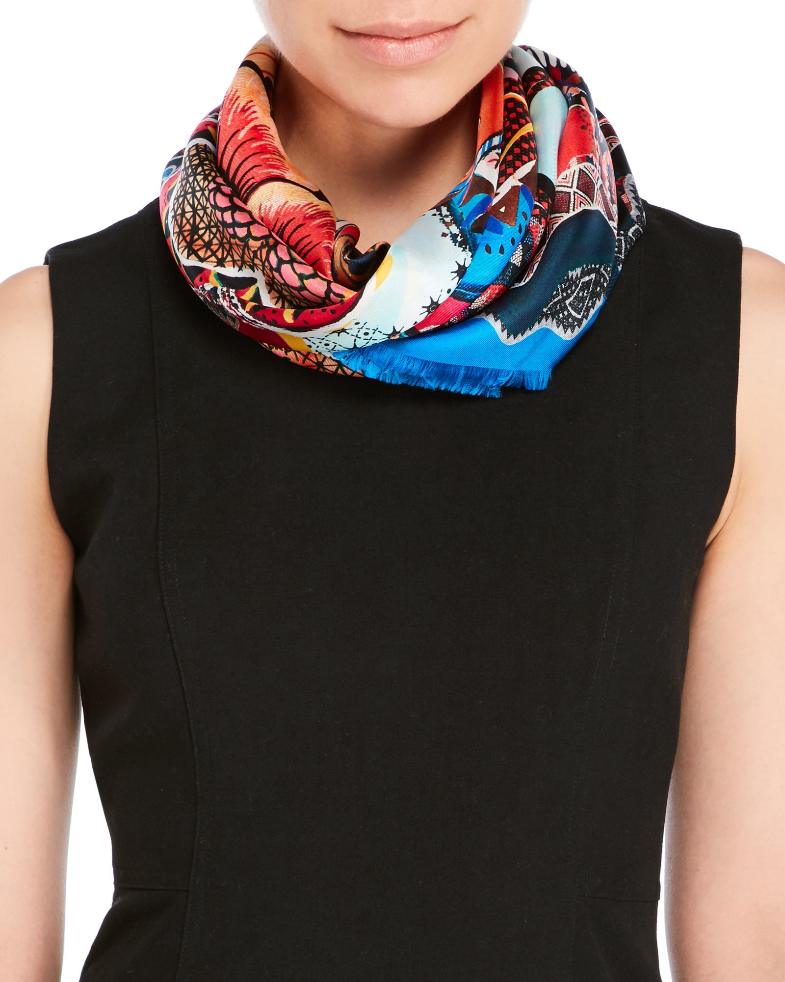christian lacroix printed woven silk fringe scarf in blue
