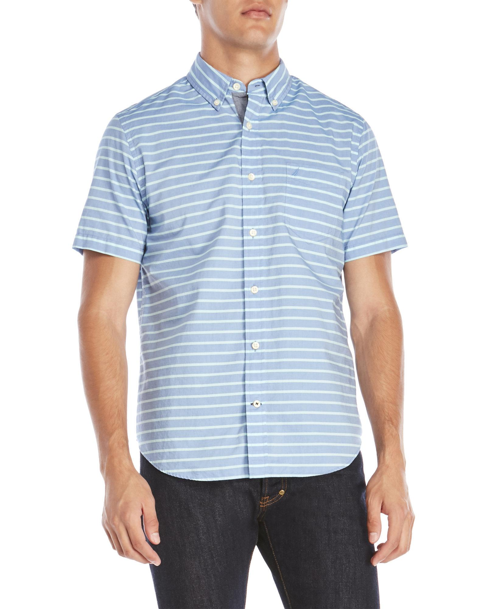 Best Supplier Cheap Sale Release Dates Nautica Nautica Classic Fit Riviera Horizontal Stripe Short Sleeve Shirt Sale Official Clearance Marketable Outlet Wiki FjZIEK