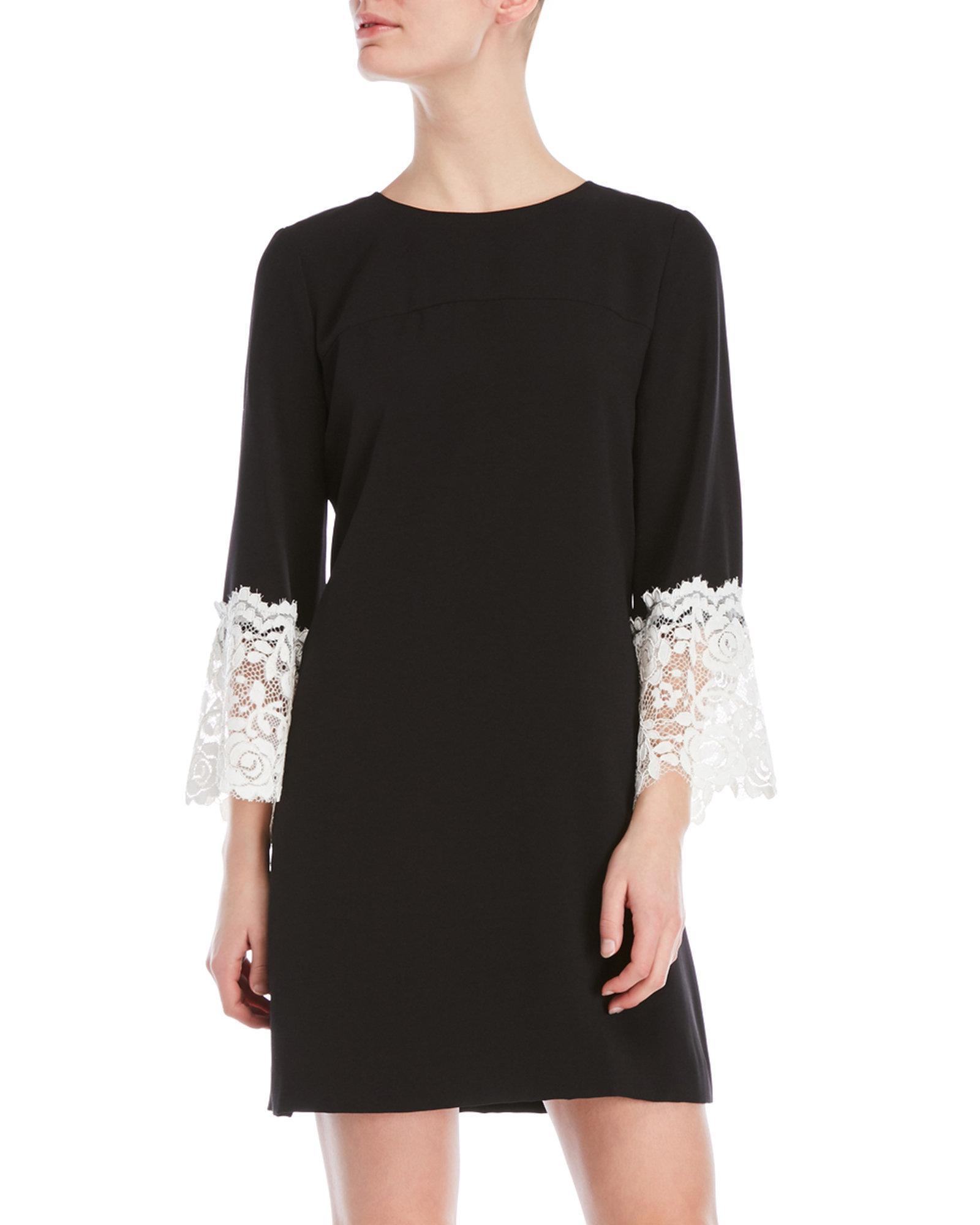 05e8fab6 Tahari Crepe Lace Bell Sleeve Dress in Black - Lyst