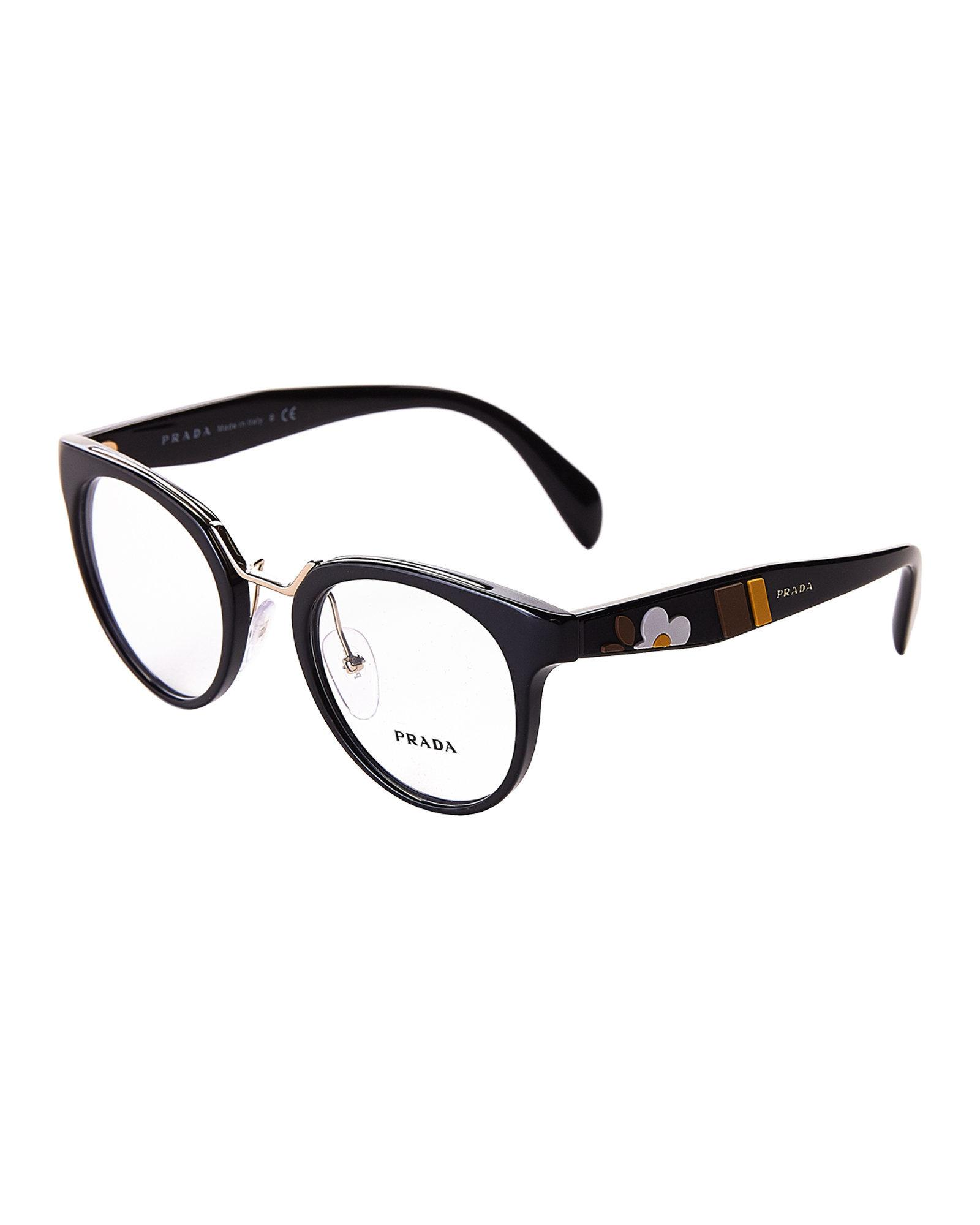 e4480656f27 Lyst - Prada Vpr 03u Black Flower Round Optical Frames in Black